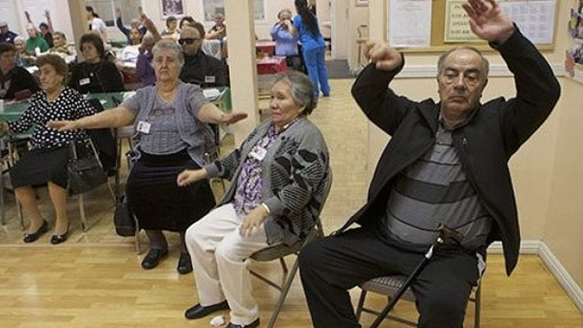 Jan. 19, 2011: Senior citizens do physical therapy at the Glendale Gardens Adult Day Health Care center in Glendale, Calif.
