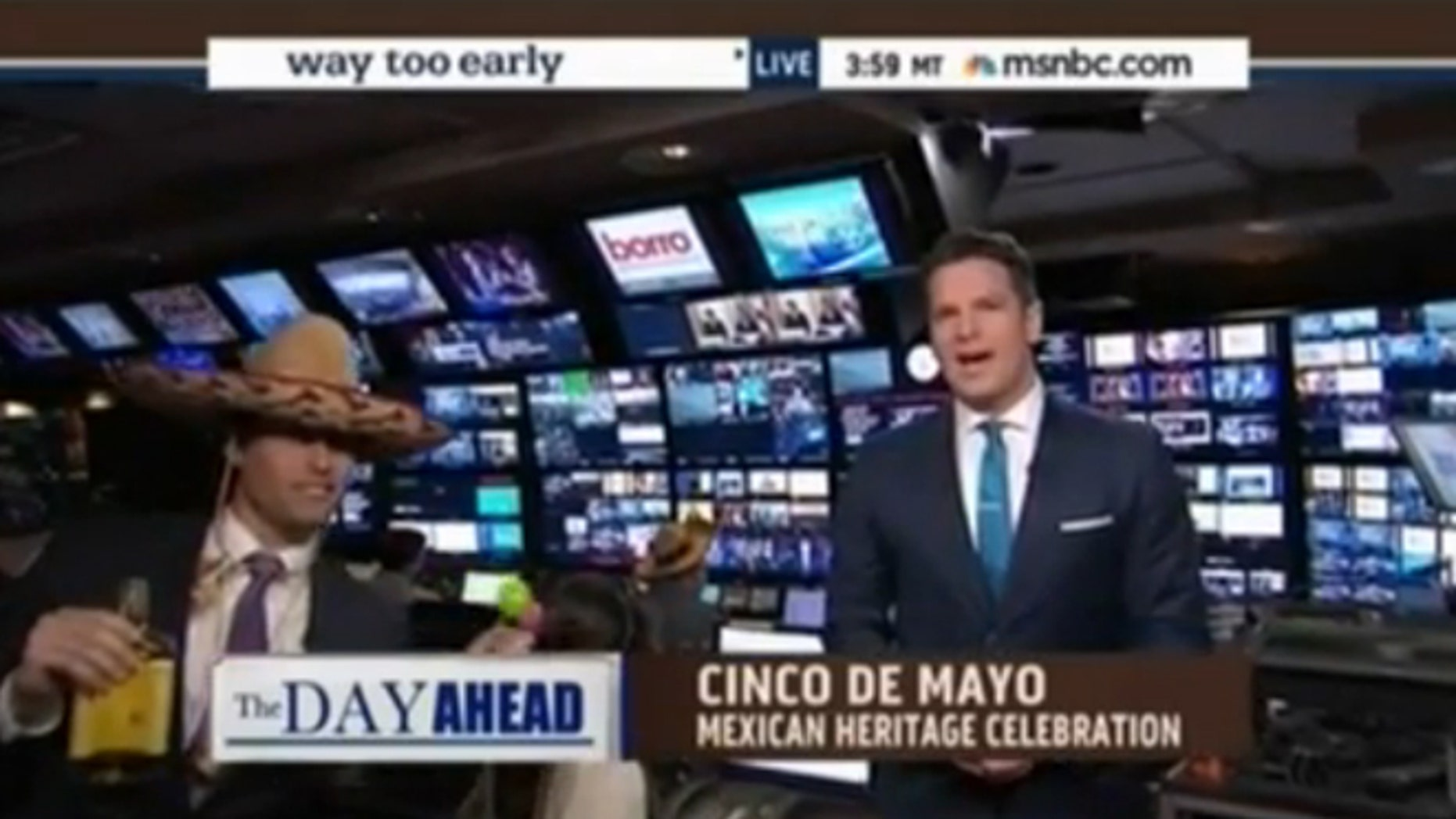 """Louis Burgdorf, left, and Thomas Roberts of """"Way Too Early"""" on MSNBC."""