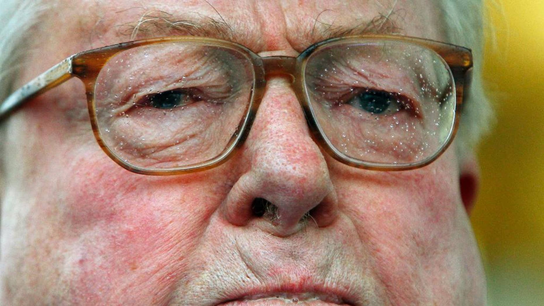 "FILE - In this Jan.7, 2012 file photo, Jean Marie Le Pen delivers a speech in Paris. Le Pen, founder and former head of France's far-right National Front party, has been convicted of denying crimes against humanity for repeating that the Nazi gas chambers are a ""detail"" of World War II history. A Paris court convicted then sentenced Le Pen on Wednesday April 6, 2016 to a 30,000 euros ($34,000) fine plus paying damages to three associations, plaintiffs in the case. (AP Photo/Francois Mori, File)"