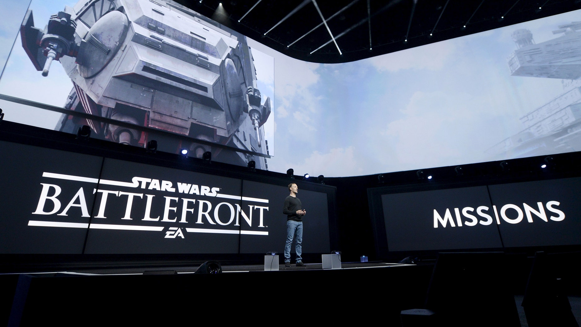 """File photo: Patrick Bach, executive producer of DICE, introduces the """"Star Wars Battlefront"""" video game at the Sony Playstation E3 conference in Los Angeles, California June 15, 2015. (REUTERS/Kevork Djansezian)"""