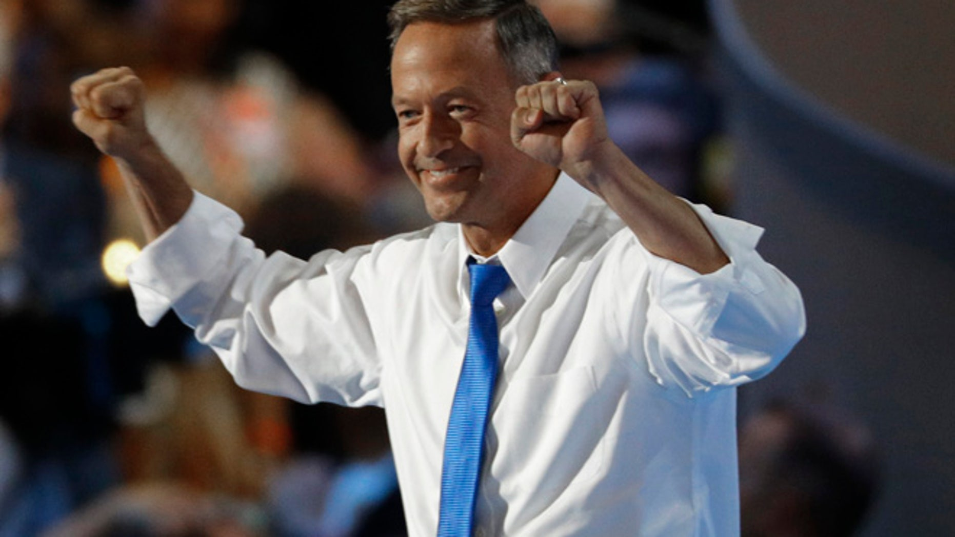 July 27, 2016: Former Governor of Maryland Martin O'Malley takes the stage at the Democratic National Convention in Philadelphia, Pennsylvania.