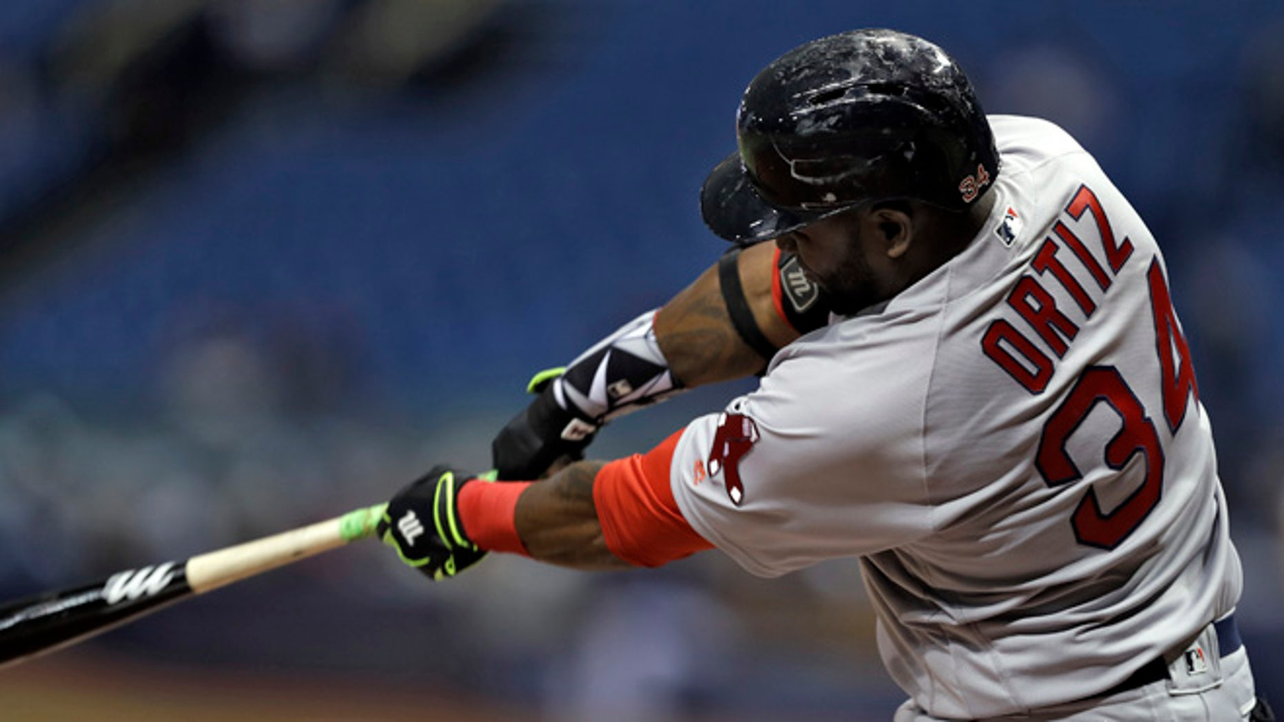 Boston Red Sox's David Ortiz during the first inning of a baseball game Wednesday, Aug. 24, 2016, in St. Petersburg, Fla.