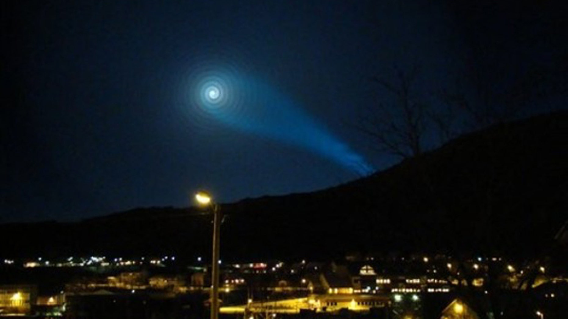 A strange light lit up the night sky above Norway Dec. 9, 2009, prompting UFO talk. The Russian army later explained that the light was caused by a failure of the Bulava intercontinental missile, which was being tested across the Norwegian-Russian border.
