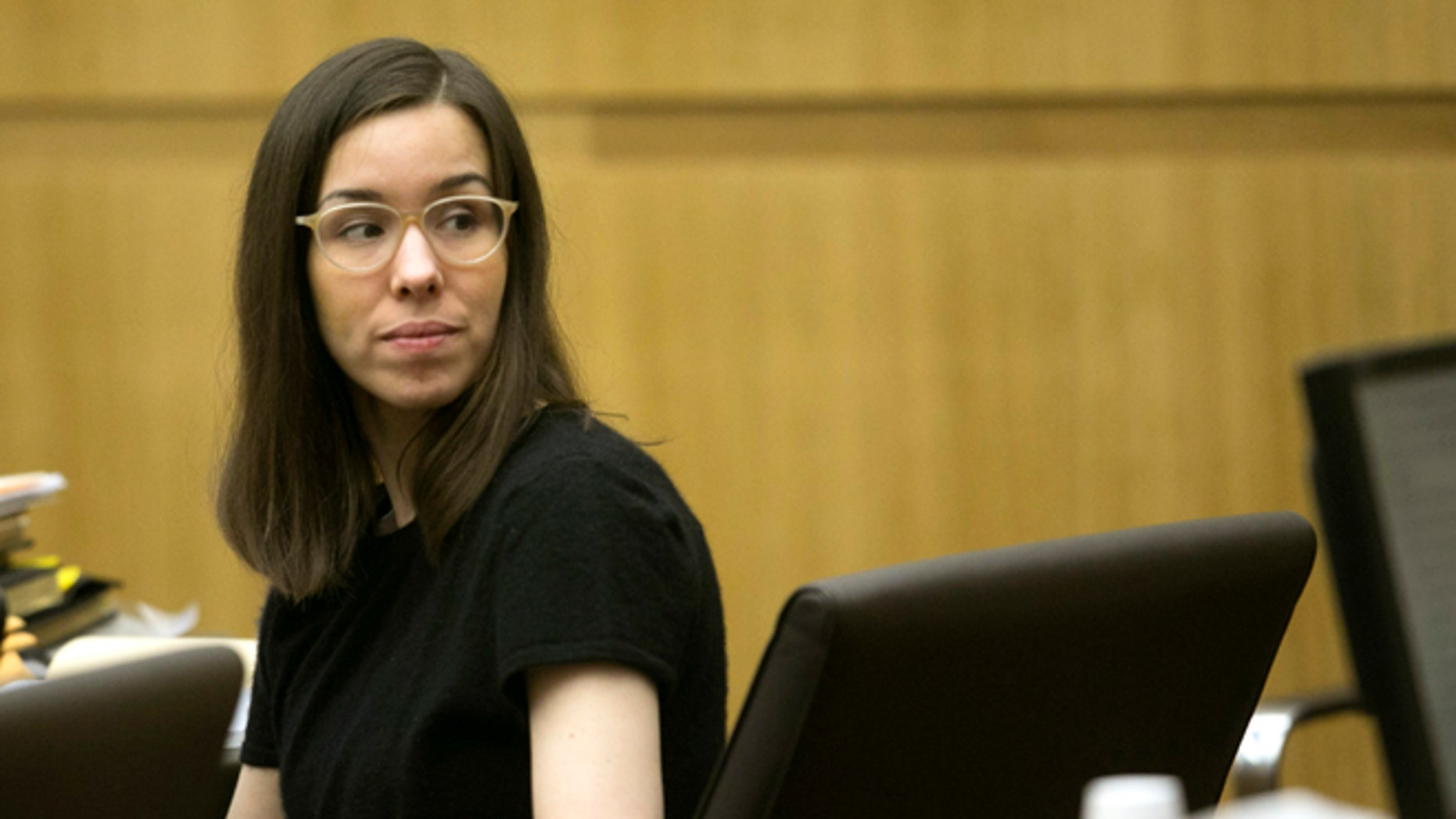 Jodi Arias looks back at the gallery during the sentencing phase of her trial at Maricopa County Superior Court in Phoenix on Wednesday, Dec. 17, 2014. (AP Photo/The Arizona Republic, David Wallace, Pool)