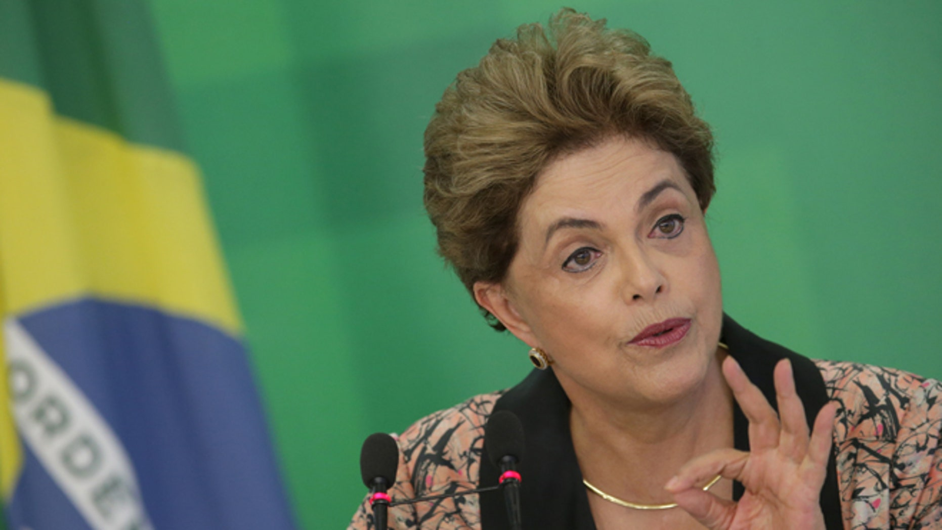 Rousseff during a press conference at the Planalto Presidential Palace in Brasilia, Tuesday, April 19, 2016.