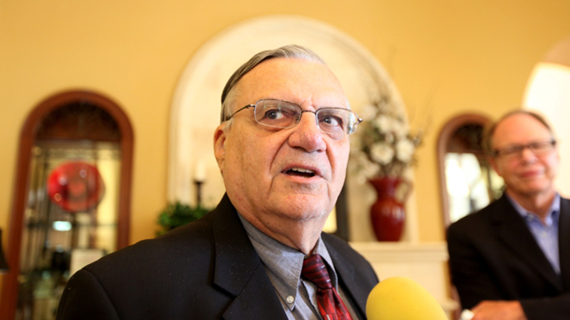 RANCHO BERNARDO, CA - AUGUST 10:  Sheriff Joe Arpaio speaks to members of the media  during a visit to the Rancho Bernardo Inn on August 10, 2010 in Rancho Bernardo, California.  Arpaio, who is Sheriff of Maricopa County in Arizona, gained national attention for using deputies to conduct raids to apprehend illegal immigrants and building large outdoor prison tents to house inmates.  (Photo by Sandy Huffaker/Getty Images)