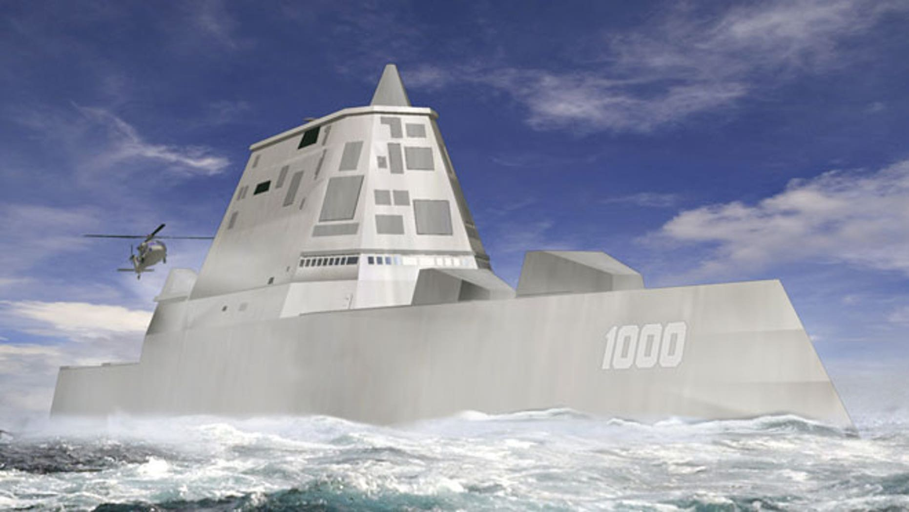 This file image released by Bath Iron Works shows a rendering of the DDG-1000 Zumwalt, the U.S. Navy's next-generation destroyer, which has been funded to be built at Bath Iron Works in Maine and at Northrop Grumman's shipyard in Pascagoula, Miss.
