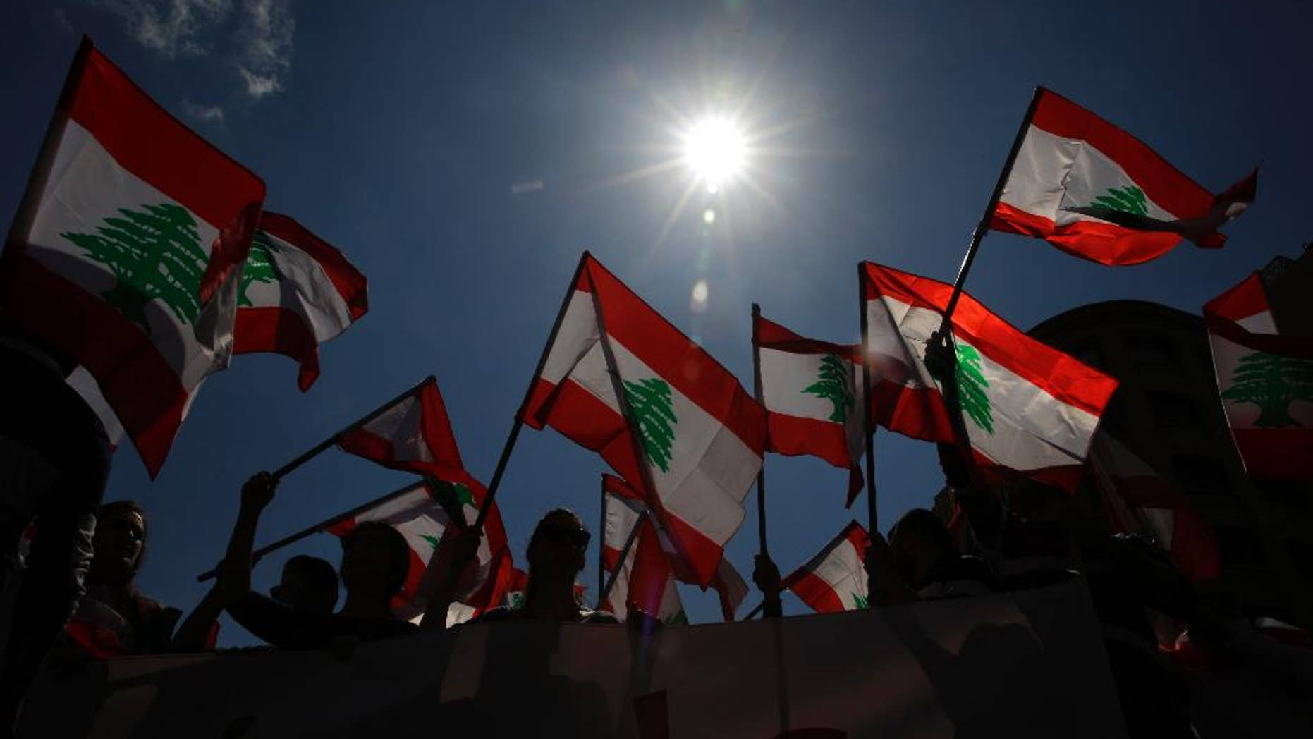 Lebanese people wave the nation's flag, in downtown Beirut, March 19, 2017.