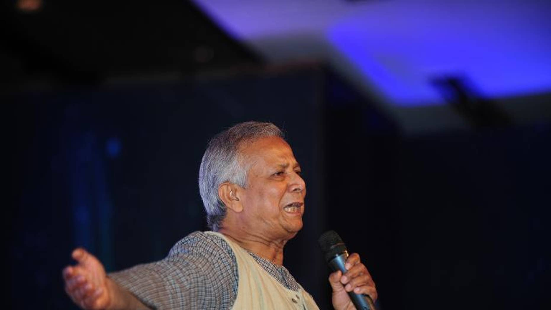 Nobel Laureate Professor Muhammad Yunus speaks in Dhaka on June 28, 2013