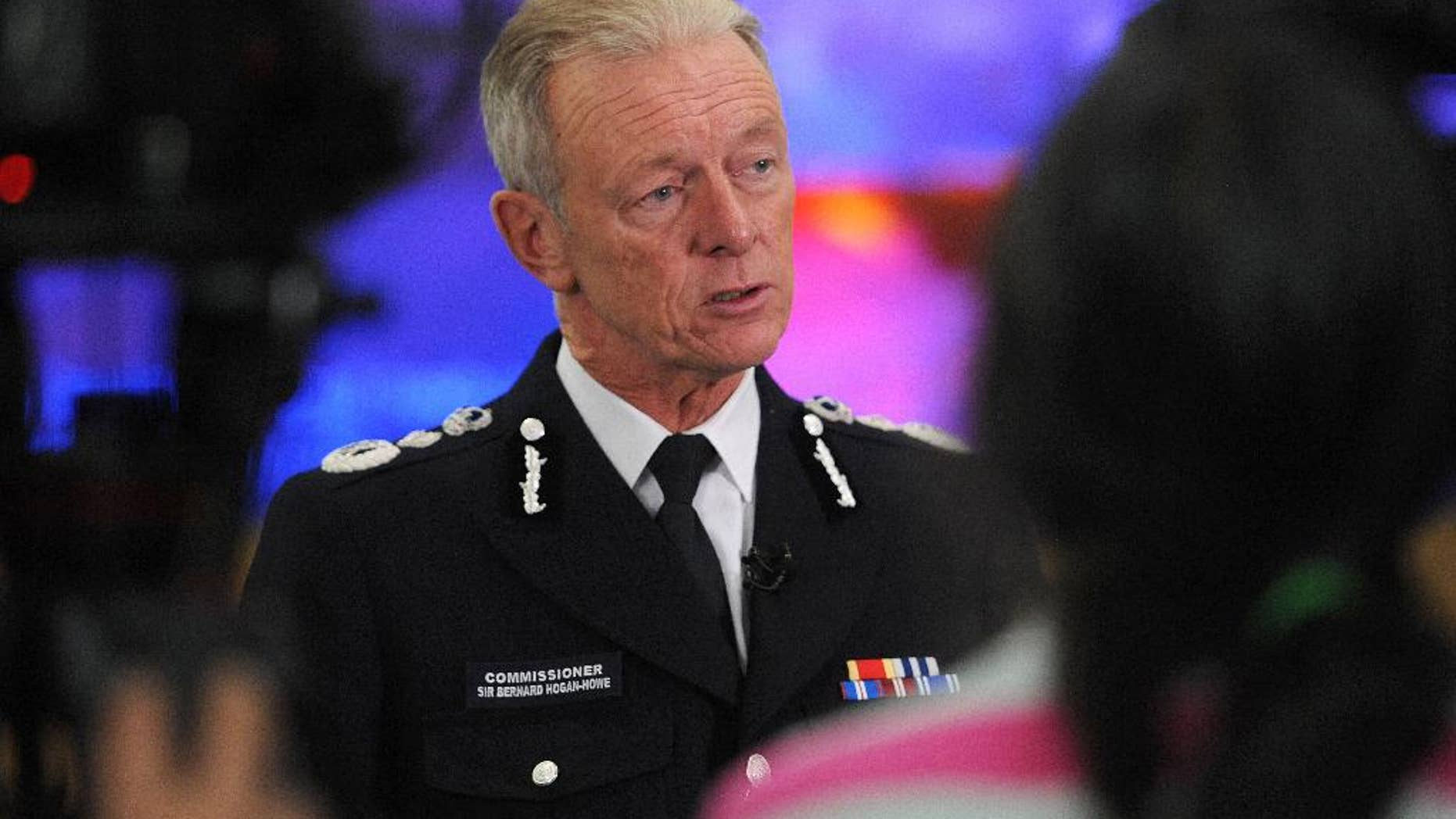 Britain's Metropolitan Police Commissioner Bernard Hogan-Howe speaks to media at the Metropolitan Police Control Centre in central London, Thursday, Sept. 29, 2016. Hogan-Howe, Britain's most senior police officer, has announced he'll retire in February, seven months before his contract expires. (Nick Ansell/PA via AP)
