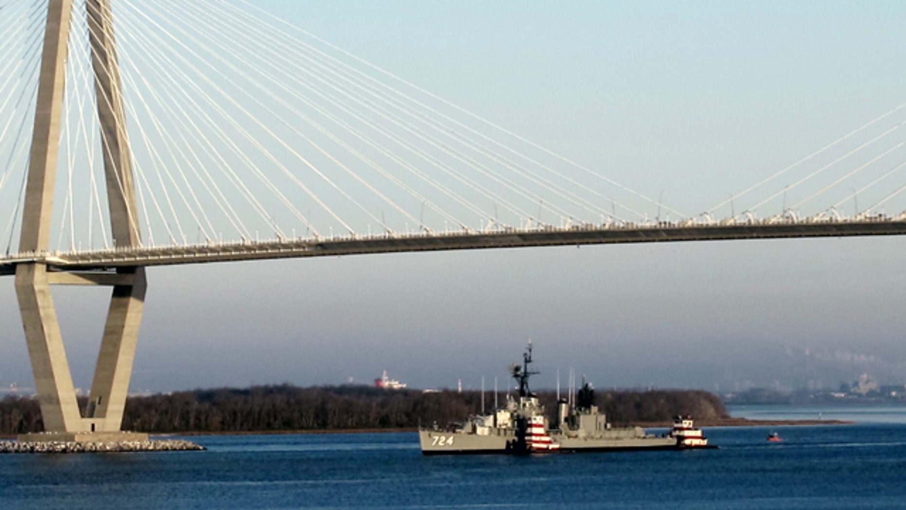Jan. 25: World War II destroyer USS Laffey is towed down the Cooper River to the Patriots Point Naval and Maritime Museum in Mount Pleasant, S.C.