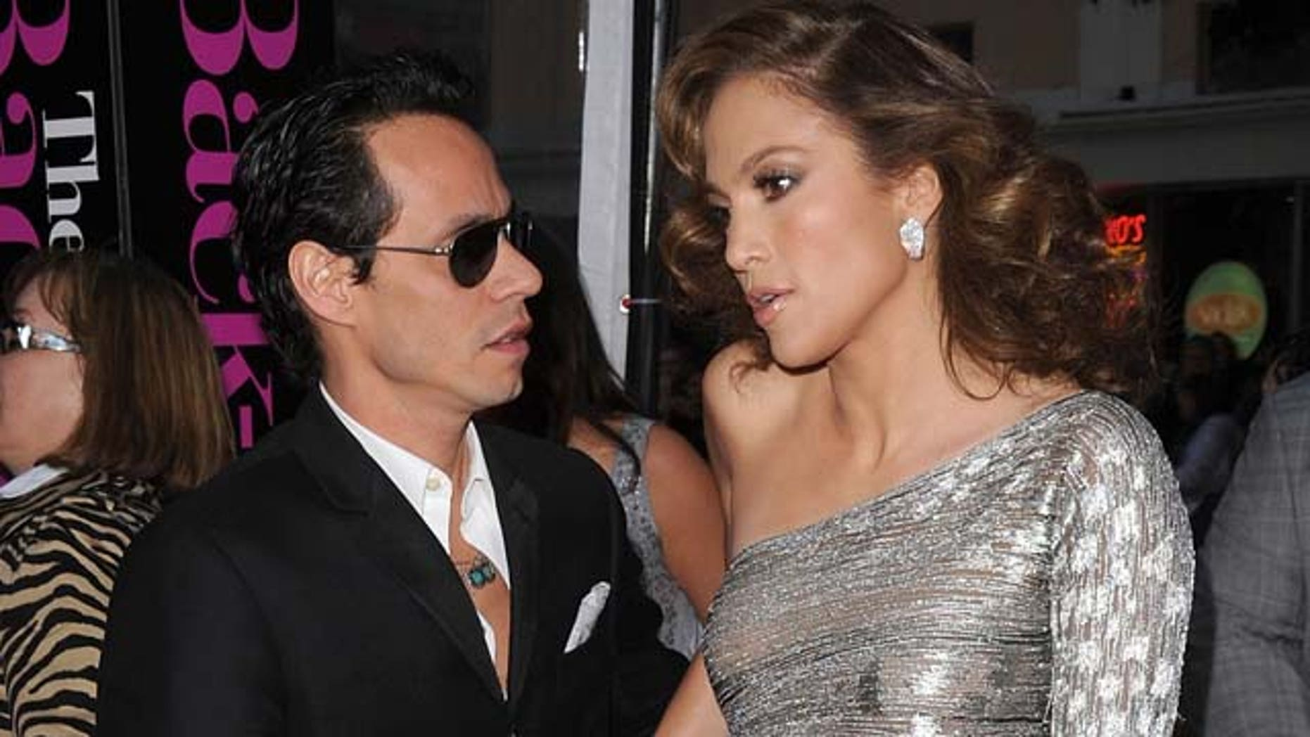 WESTWOOD, CA - APRIL 21:  Singer Marc Anthony (L) and actress Jennifer Lopez arrive at the premiere of CBS Films' 'The Back-up Plan' held at the Regency Village Theatre on April 21, 2010 in Westwood, California.  (Photo by Jason Merritt/Getty Images)