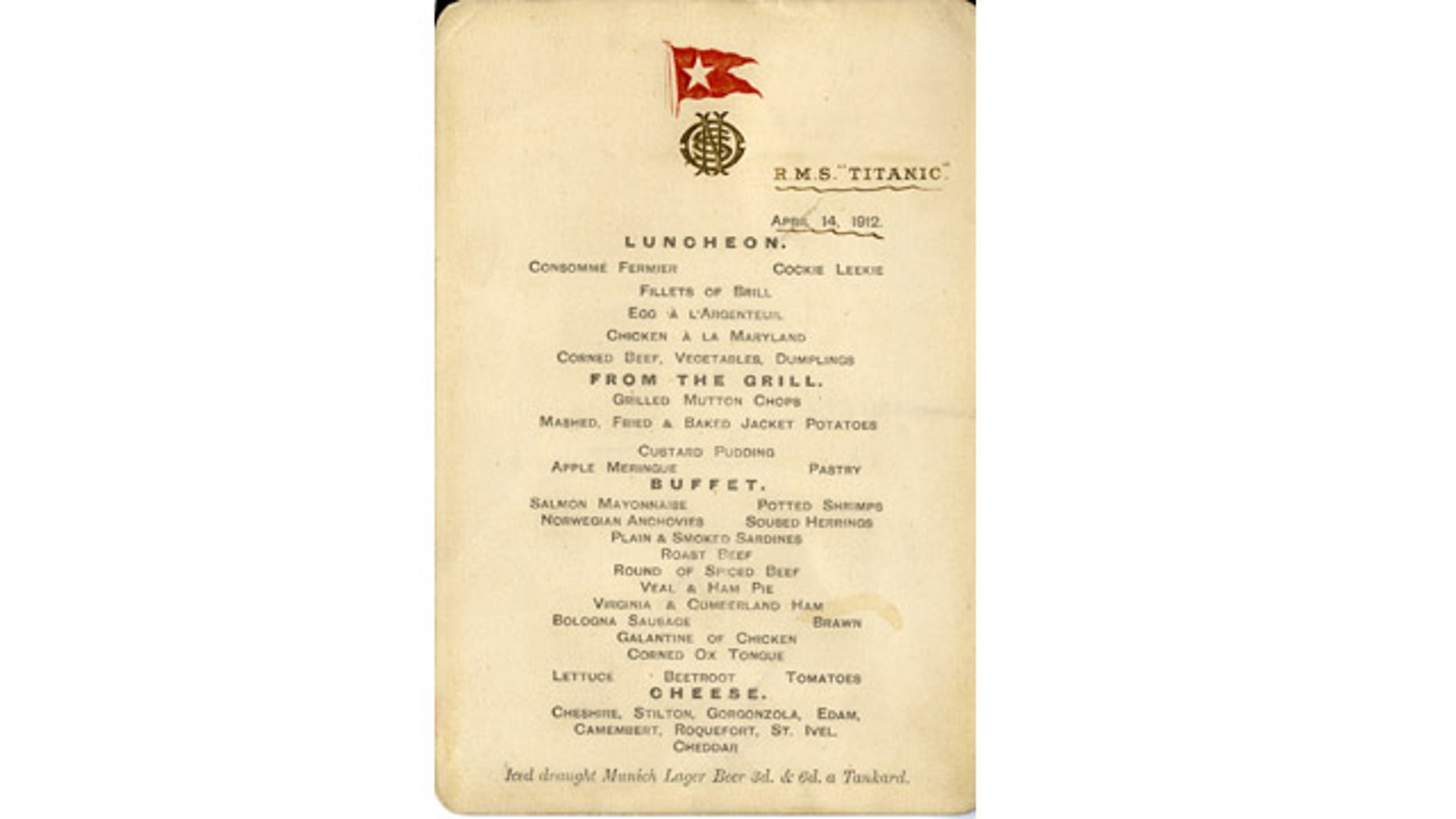 Ruth Dodge put this menu in her handbag, and it has remained with the family ever since.