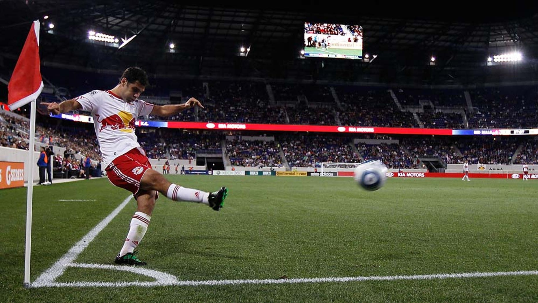 HARRISON, NJ - APRIL 30:  Rafa Marquez #4 of the New York Red Bulls takes a corner kick against the Sporting KC on April 30, 2011 at Red Bull Arena in Harrison, New Jersey. The Red Bulls defeated the Sporting KC 1-0. (Photo by Mike Stobe/Getty Images for New York Red Bull)