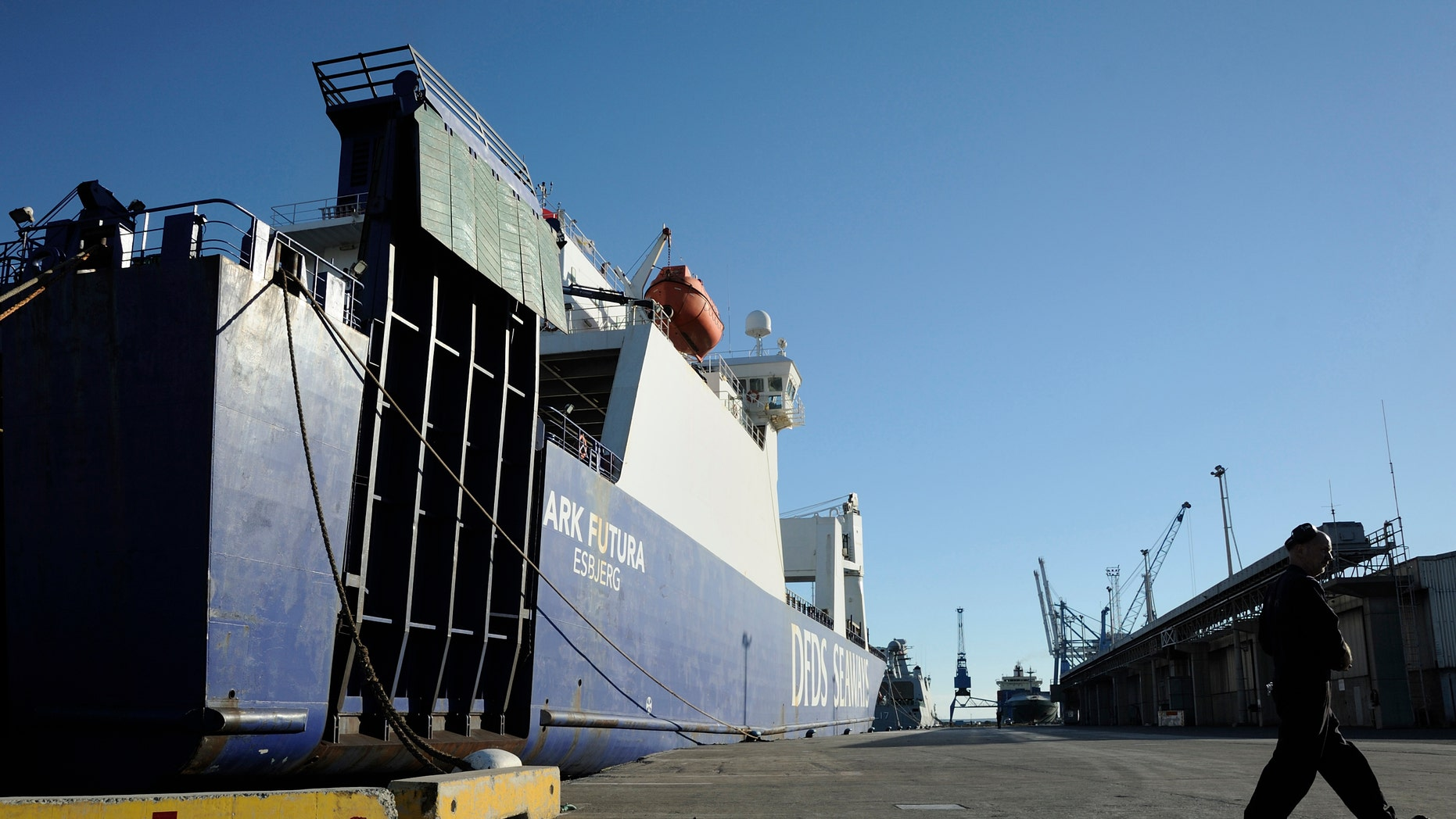 The Danish cargo ship Ark Futura, which will take part in a joint Danish-Norwegian mission to transport Syria's chemical weapons out of the strife-torn country, lies docked at Cyprus' Limassol port on Saturday, December 14, 2013.(AP Photo/Pavlos Vrionides)