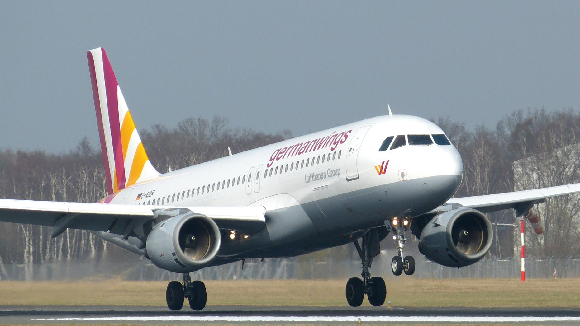 An Airbus A320 of German airline Germanwings as it lands at the airport in Hamburg, northern Germany.