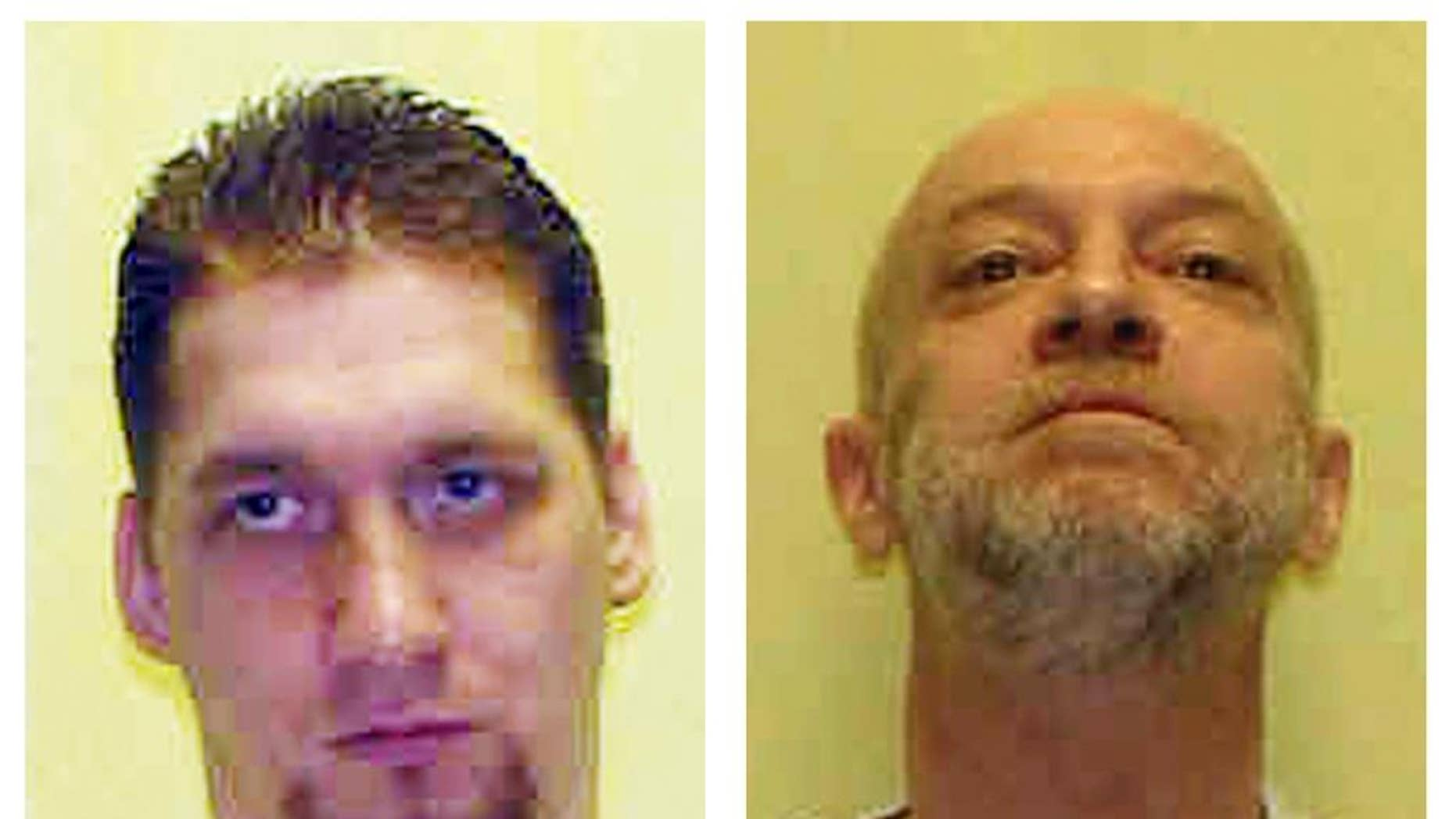 These undated file photos provided by the Ohio Department of Rehabilitation and Corrections show death row inmates Ronald Phillips and Raymond Tibbetts. Phillips' execution is scheduled for Feb. 11, 2015, and Tibbetts' for March 17, but, with Ohio's supply of lethal injection drugs expiring April 1, the state won't be able to carry out executions under its current system unless it finds a source for more drugs. (AP Photo/Ohio Dept. of Rehabilitation and Corrections, File)