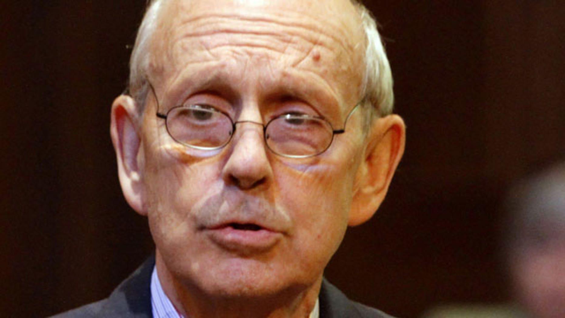 In this Oct. 6, 2011 file photo, Supreme Court Justice Stephen Breyer in Richmond, Va.