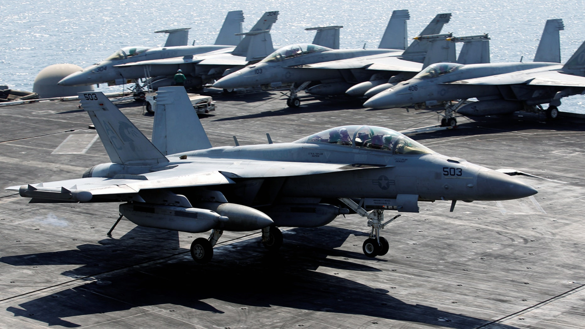 An EA-18G Growler like the one used to draw a phallic image in the sky over Washington state.