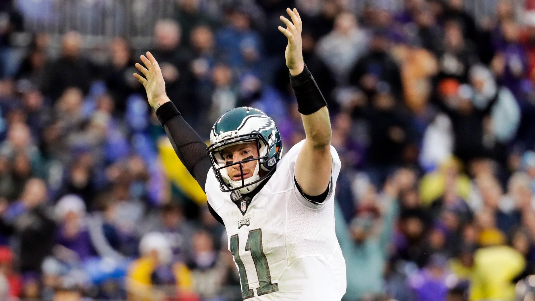 Eagles quarterback Carson Wentz celebrates a touchdown on Dec. 18.