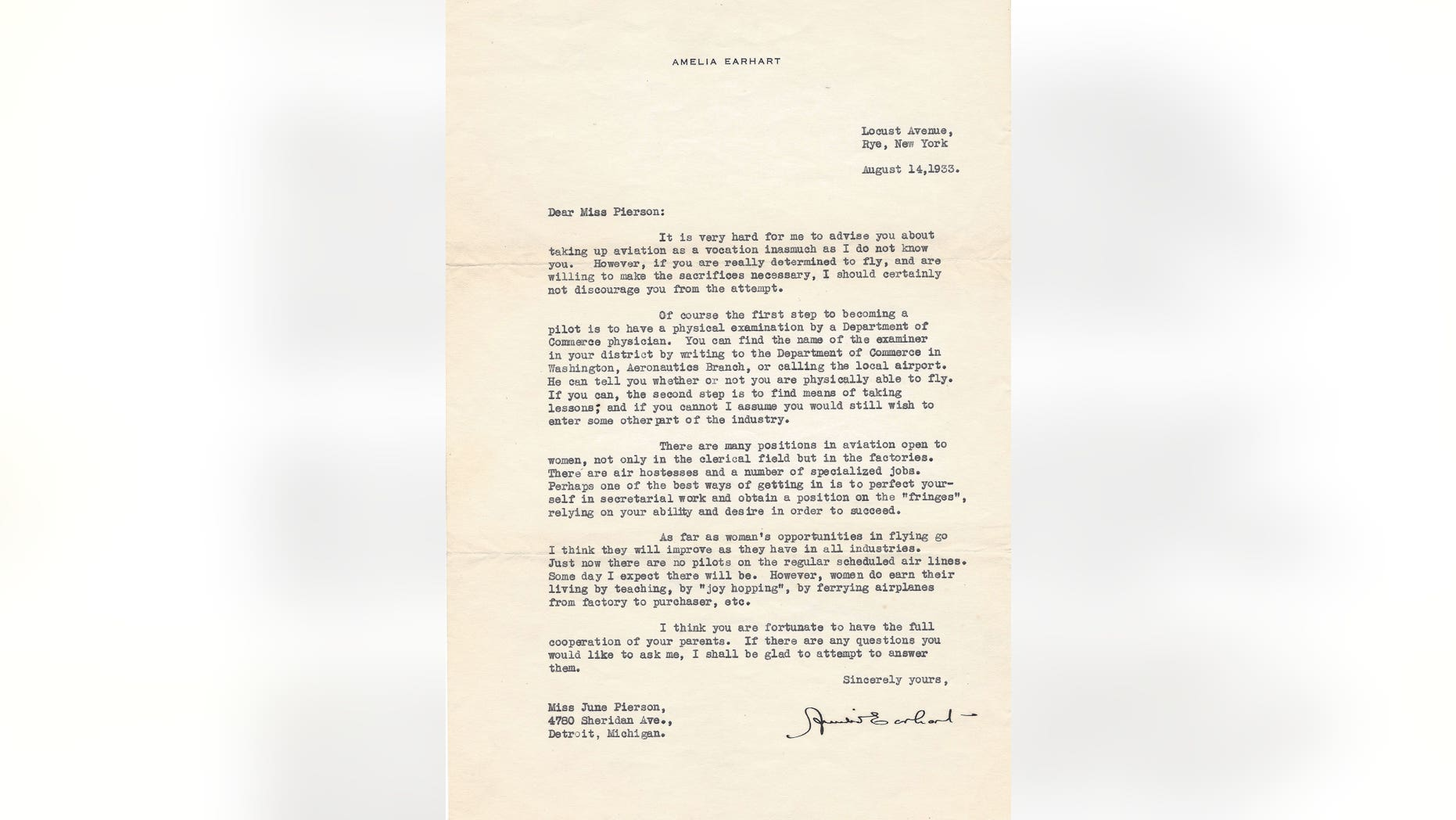 This letter, signed by aviation pioneer Amelia Earhart, was written to 13-year-old June Pierson in 1933. (Credit: The Raab Collection)