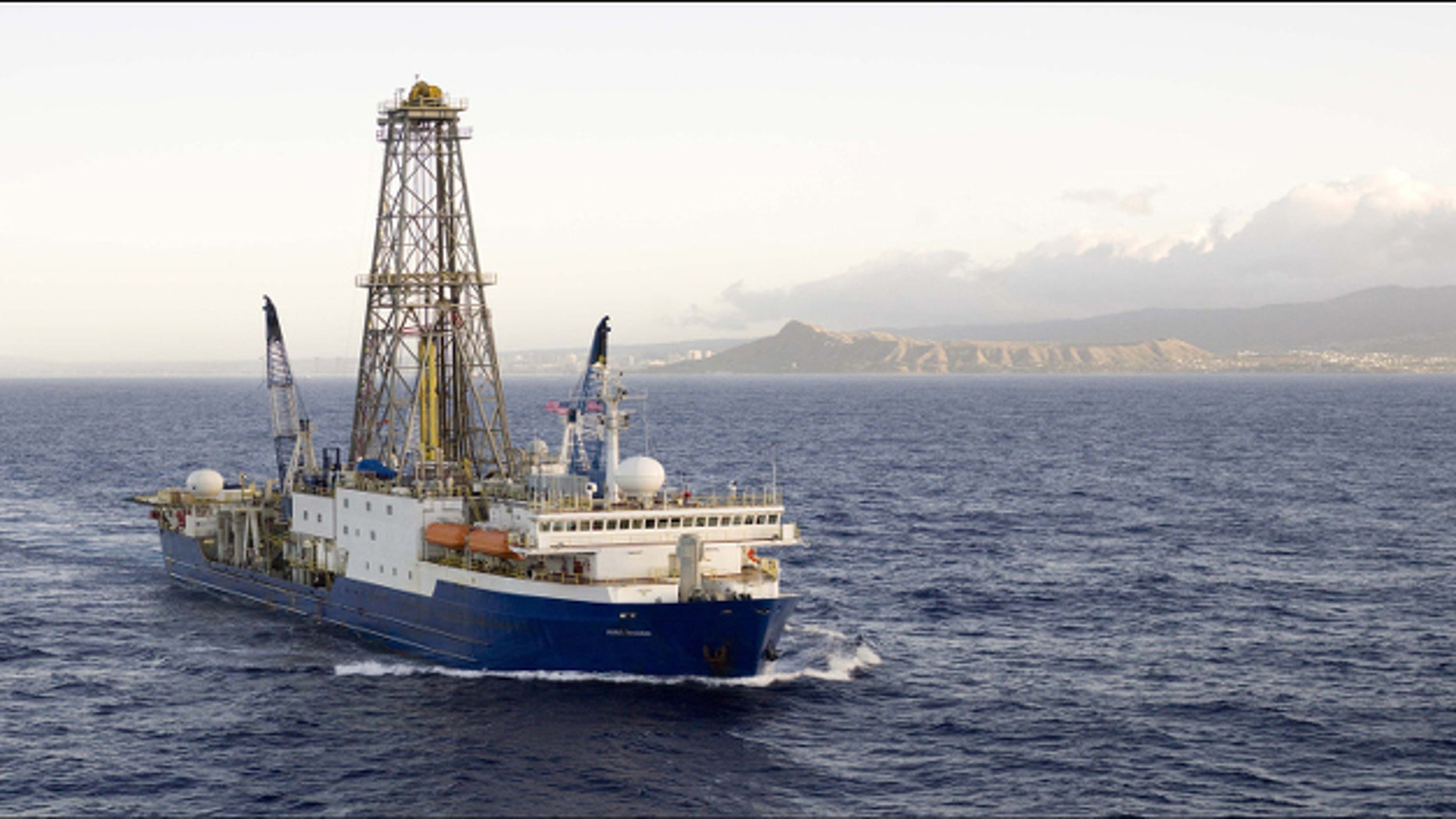 The JOIDES Resolution-US Riserless Drilling Vessel. (International Ocean Discovery Program)