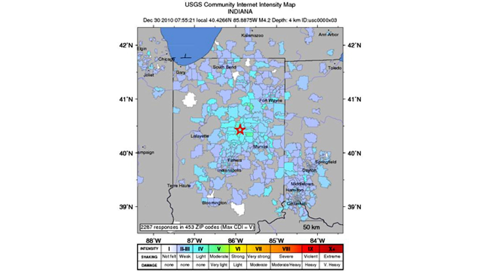 A USGS map locates the magnitude 3.8 quake that struck Central Indiana Thursday morning.