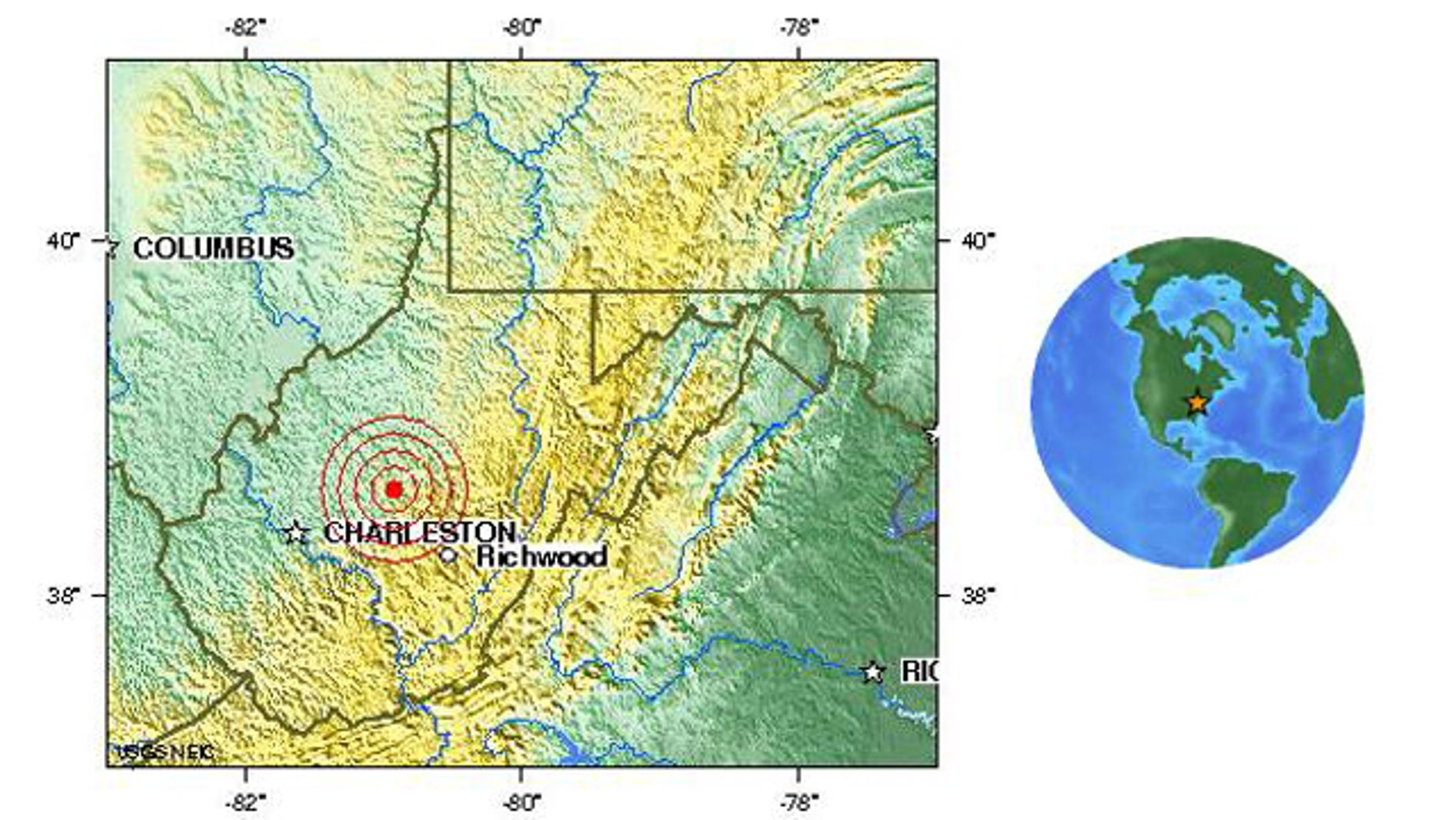 A map on the USGS Web site shows the location of a magnitude 3.4 earthquake that struck West Virgina April 4, mere days before a deadly methane gas explosion in a nearby mine.