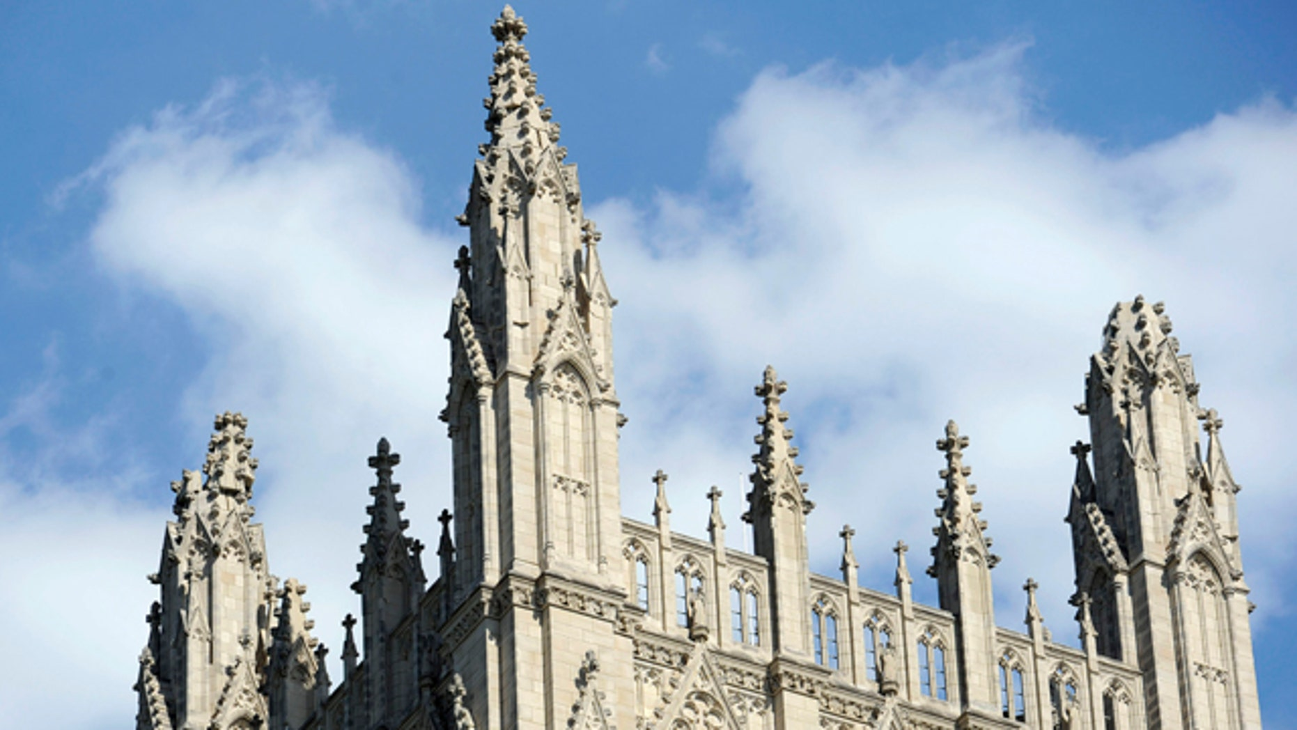 Aug. 23: A spire, right, on the National Cathedral is damaged after an earthquake in Washington area.