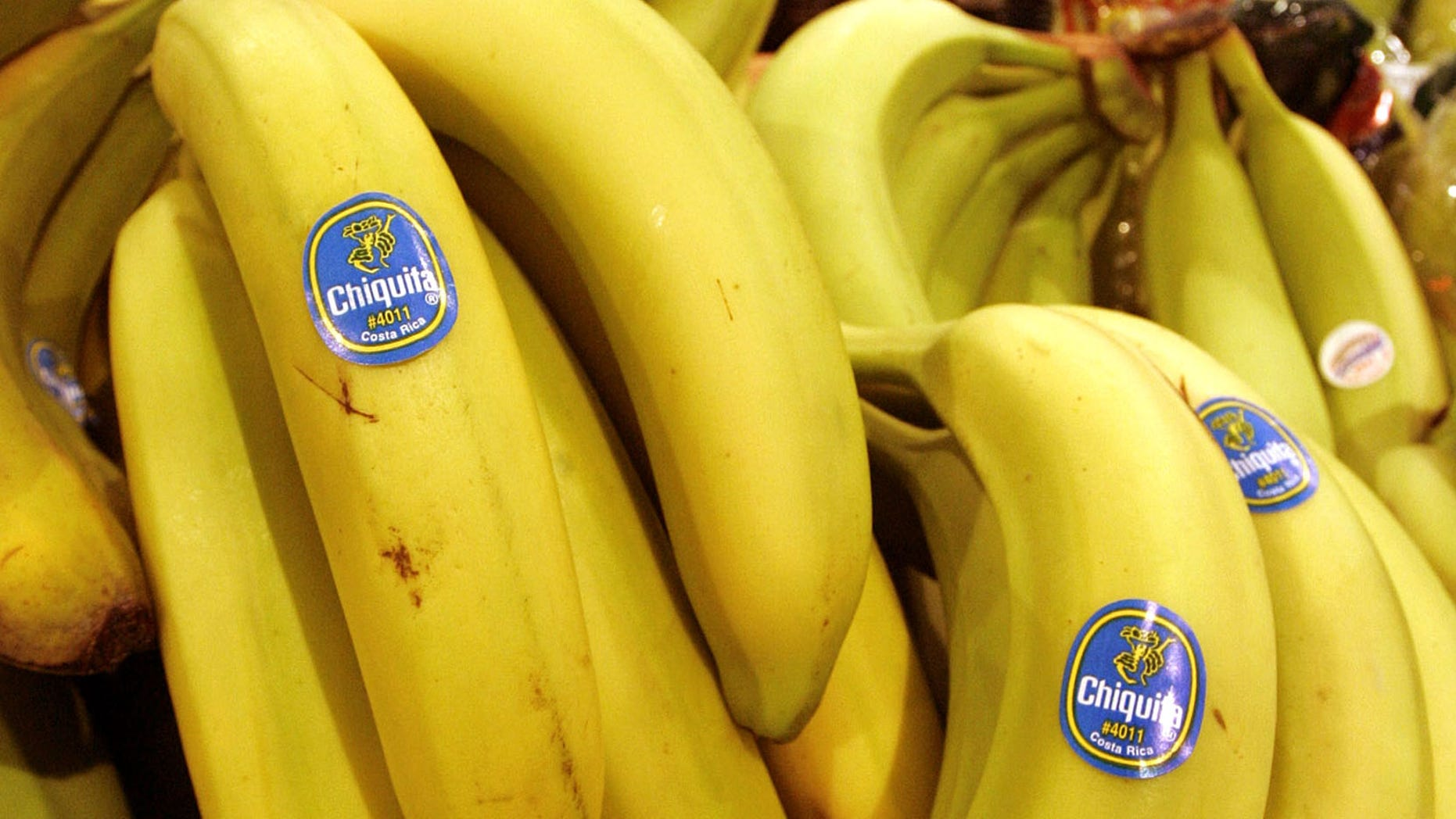 FILE - In this Aug. 3, 2005 file photo, Chiquita bananas are on display at a grocery store in Bainbridge, Ohio. Fruit supply companies Chiquita of the United States and Fyffes of Ireland said Monday, March 10, 2014, they had agreed to merge to create the world's biggest banana supplier. (AP Photo/Amy Sancetta, File)