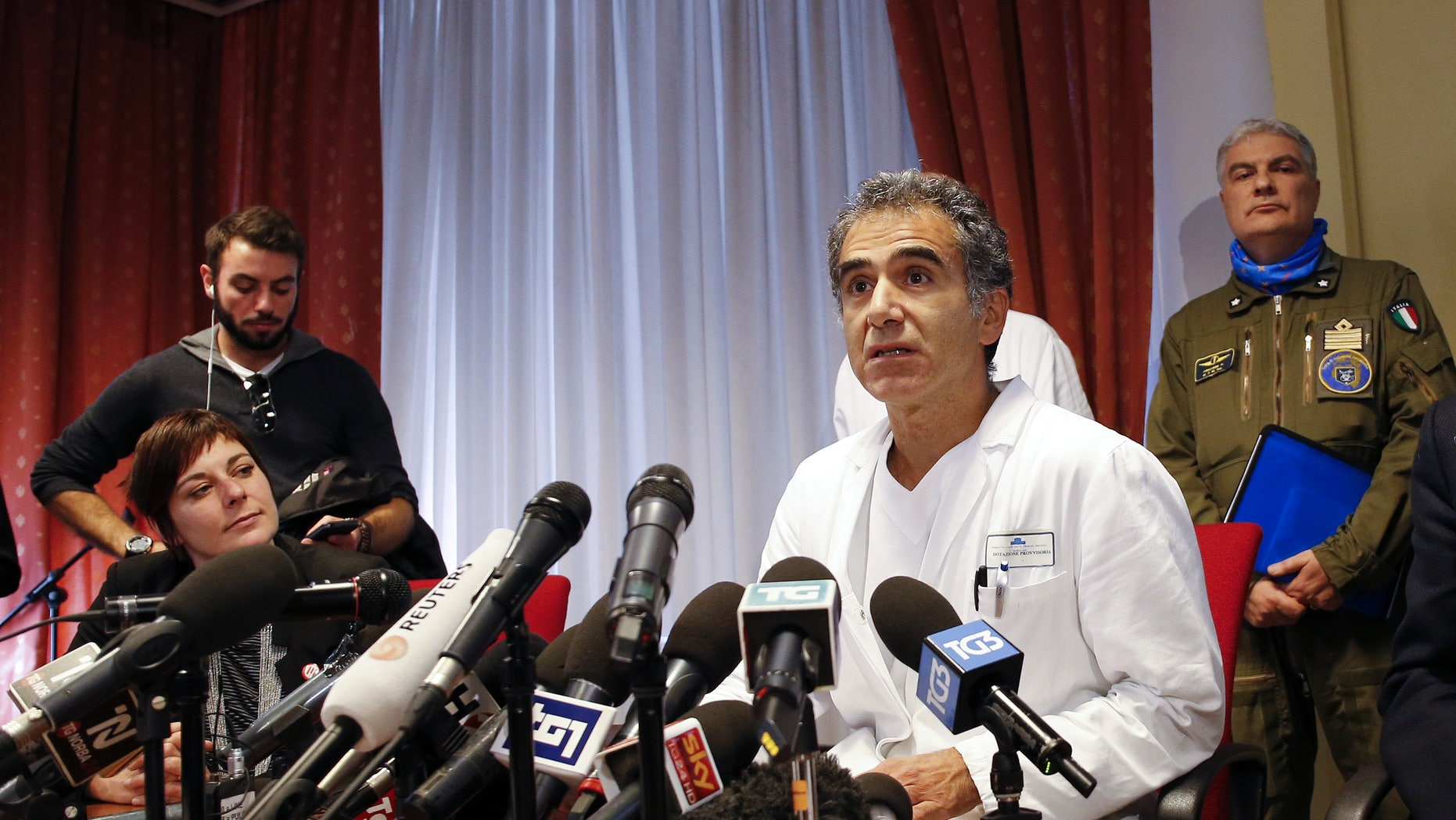Doctor Emanuele Nicastri speaks during a news conference at the Spallanzani hospital in Rome November 25, 2014. REUTERS/Giampiero Sposito
