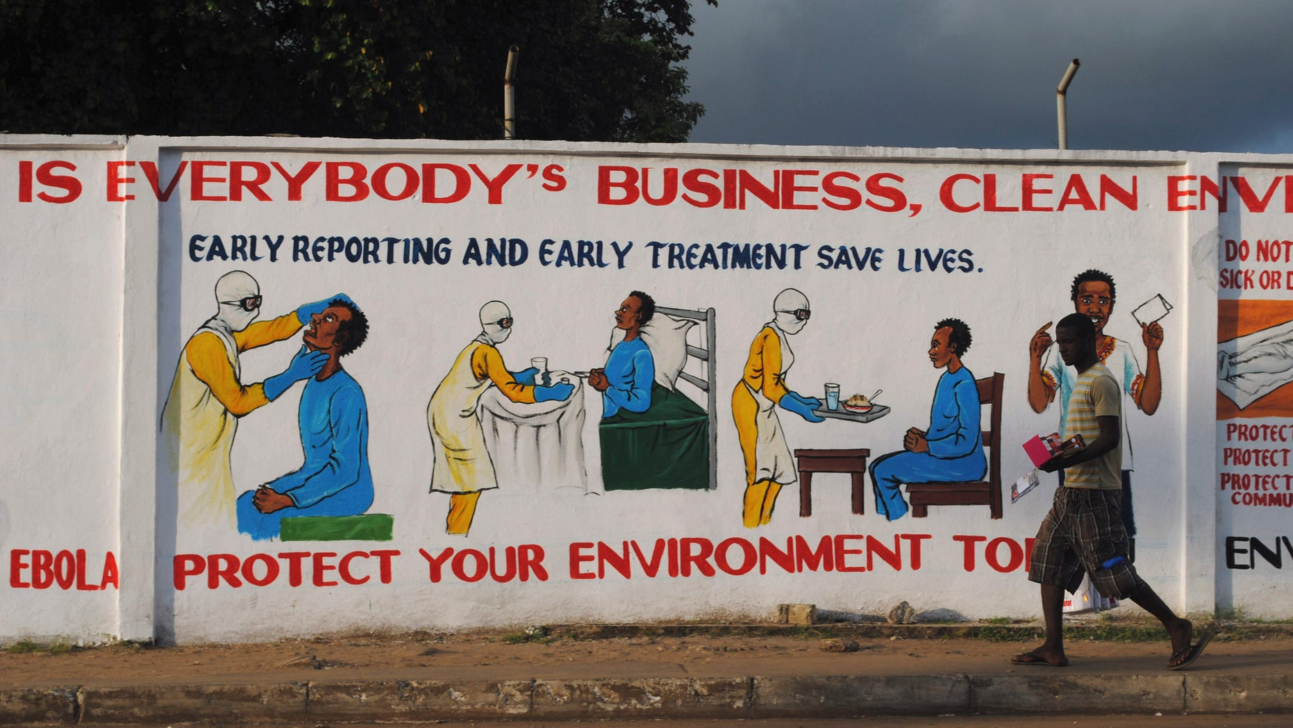 A man walks by a mural with health instructions on treating the Ebola virus, in Monrovia, November 18, 2014. REUTERS/James Giahyue