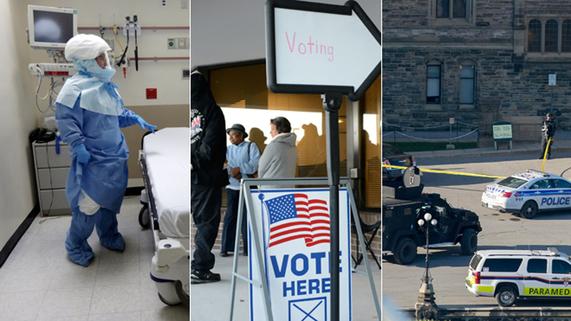 In this Oct. 8, 2014, file photo, Bellevue Hospital nurses pose in protective suits in an isolation room. This Thursday, Oct. 23, 2014 photo shows the Board of Elections office, in Wilmington, N.C. and this Wednesday, Oct. 22, 2014 photo shows police teams outside Centre Block on Parliament Hill in Ottawa, Ontario.