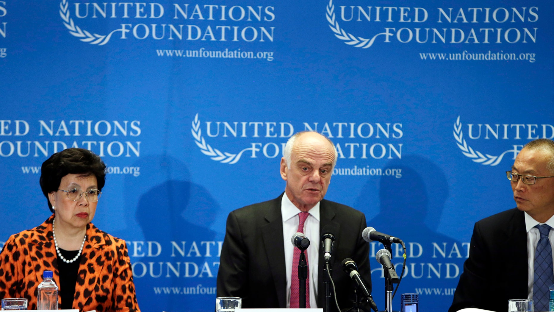 (L-R) World Health Organization (WHO) Director-General Dr. Margaret Chan, Senior United Nations System Coordinator for Ebola  Virus Disease Dr. David Nabarro, and Assistant WHO Director-General for Health Security Dr. Keiji Fukuda appear at a briefing to discuss the Ebola outbreak in West Africa at the UN Foundation in Washington September 3, 2014. REUTERS/Gary Cameron