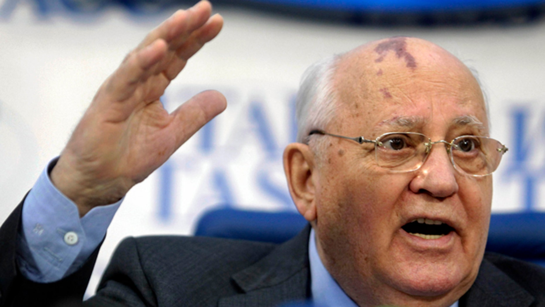 Feb. 21, 2011: Former Soviet leader Mikhail Gorbachev speaks during a news conference in Moscow. (AP)