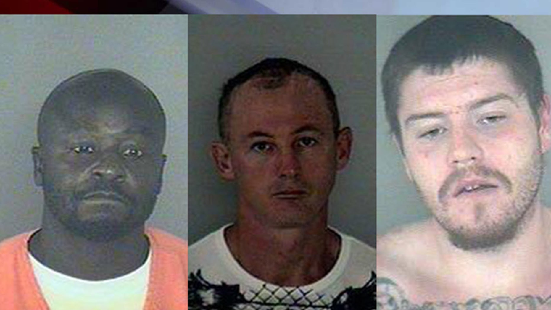 Florida deputies say Joel Cooper, 43, (l), Donald Cotter, 44, (c) and Casey Brandon, 25, escaped from jail Friday.