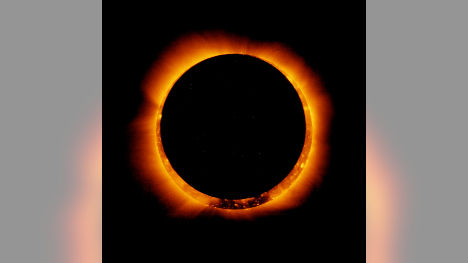 In this picture of a solar eclipse, the moon is beginning to move from its position in front of the sun.