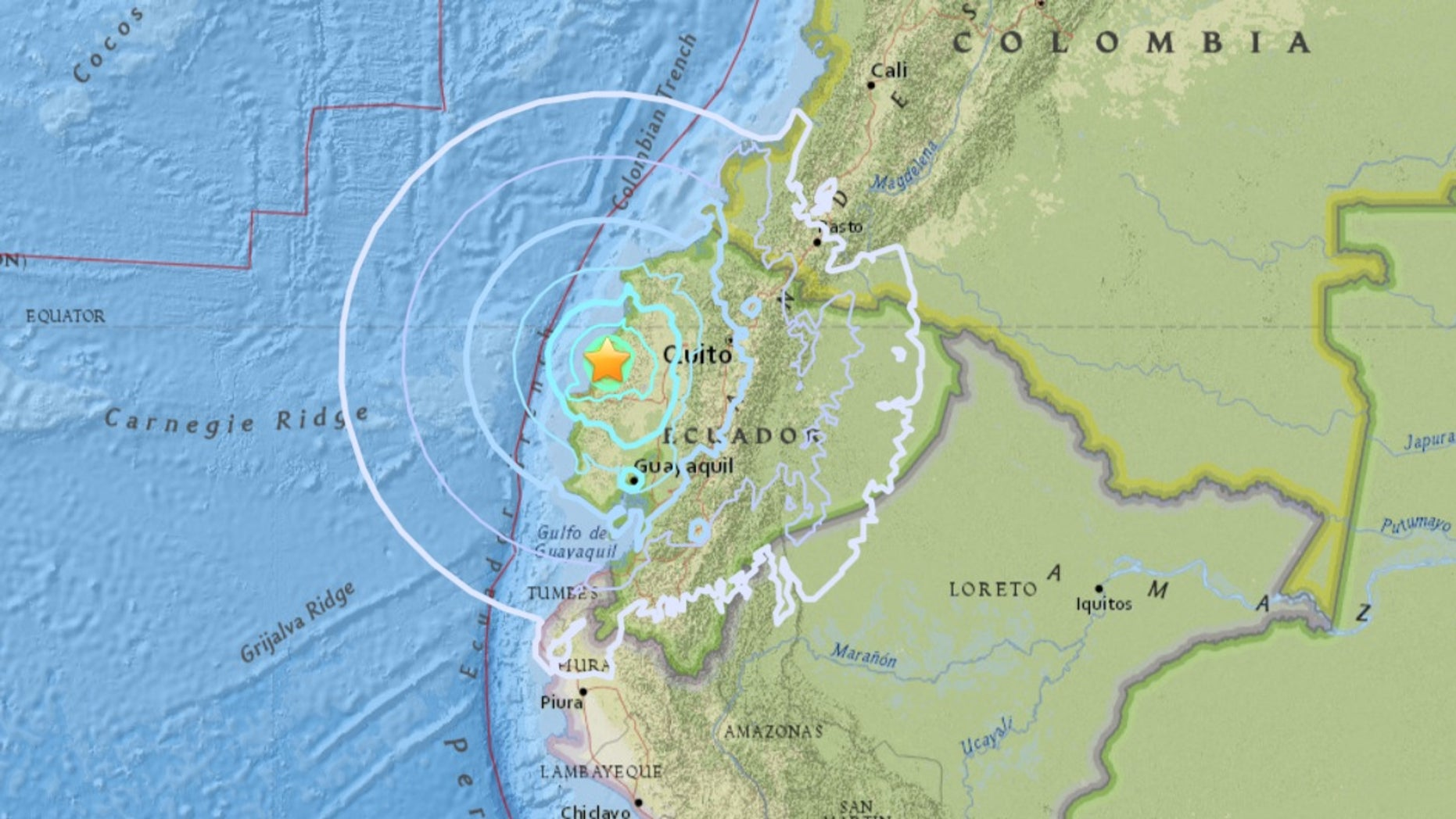 The earthquake was was centered around the town of San Vicente, Ecuador.