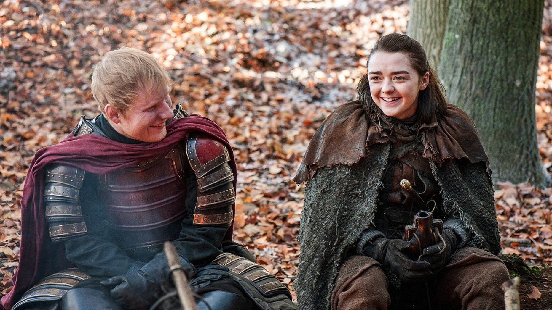 """Ed Sheeran in """"Game of Thrones"""" with actress Maisie Williams."""