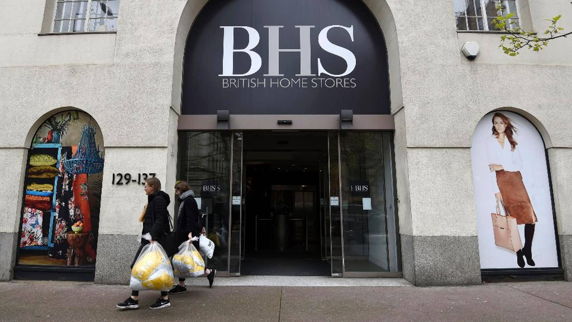 The headquarters of British Home Stores in Marylebone Road, London, Monday April 25, 2016. The troubled British department store chain BHS has called in administrators after failing to secure a rescue package, putting 11,000 jobs are at risk. A fixture on Britain's high streets, the firm has suffered from a chronic lack of investment recently. It has debts of more than 1.3 billion pounds ($1.8 billion), including a pension fund deficit of 571 million pounds. (Lauren Hurley/PA via AP) UNITED KINGDOM OUT