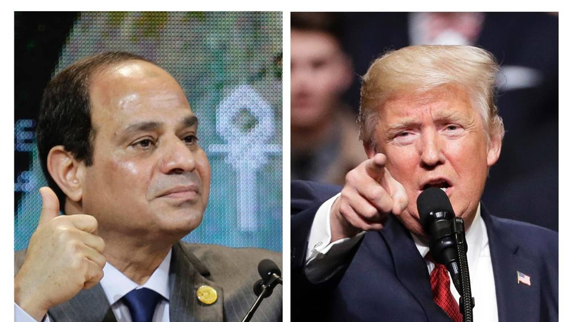 This combination of two photos shows Egyptian President Abdel-Fattah el-Sissi, left, and U.S. President Donald Trump, right. El-Sissi is a career military man of taciturn ways, his host Trump a brash real estate developer and reality TV star who inherited a fortune. Yet their instincts and language seem strikingly similar. (AP Photo)