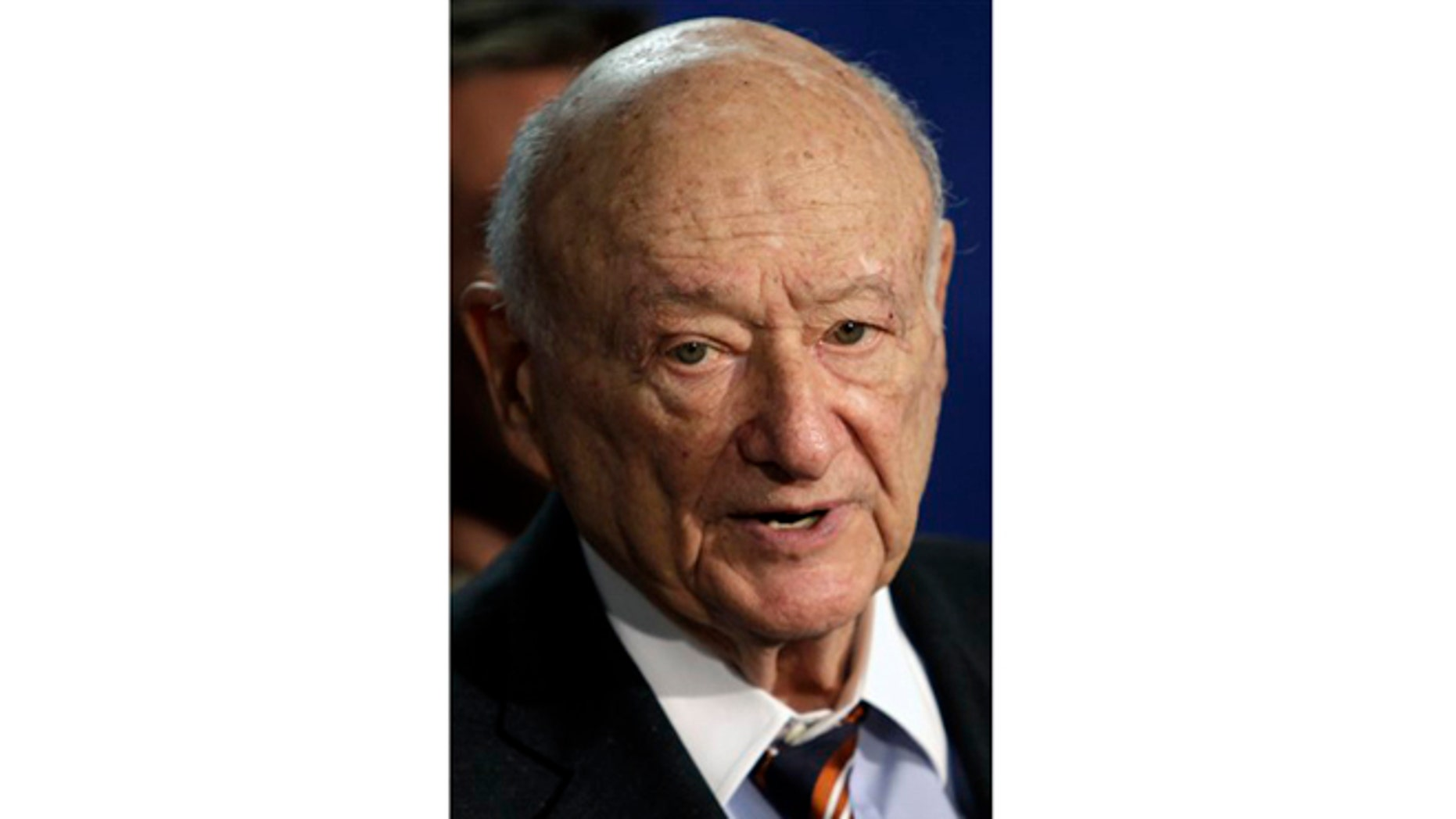 March 1, 2011: Former New York Mayor Ed Koch speaks during a news conference on redistricting in Albany, N.Y.