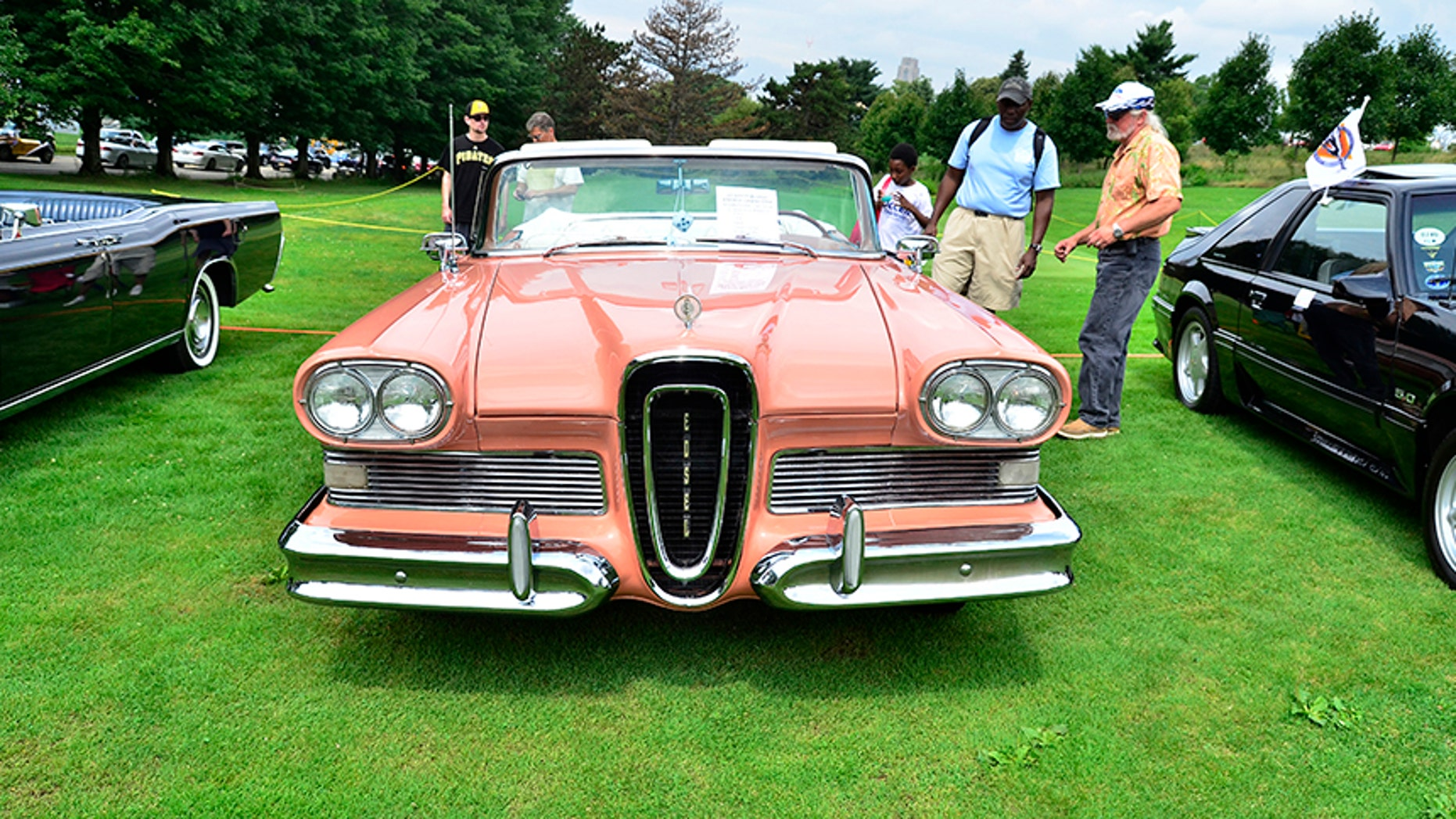 Pittsburgh, USA - July 20, 2014   Pink, classic Edsel on display at the Pittsburgh Vintage Grand Prix in Schenley Park.   The Pittsburgh Vintage Grand Prix is held every July.