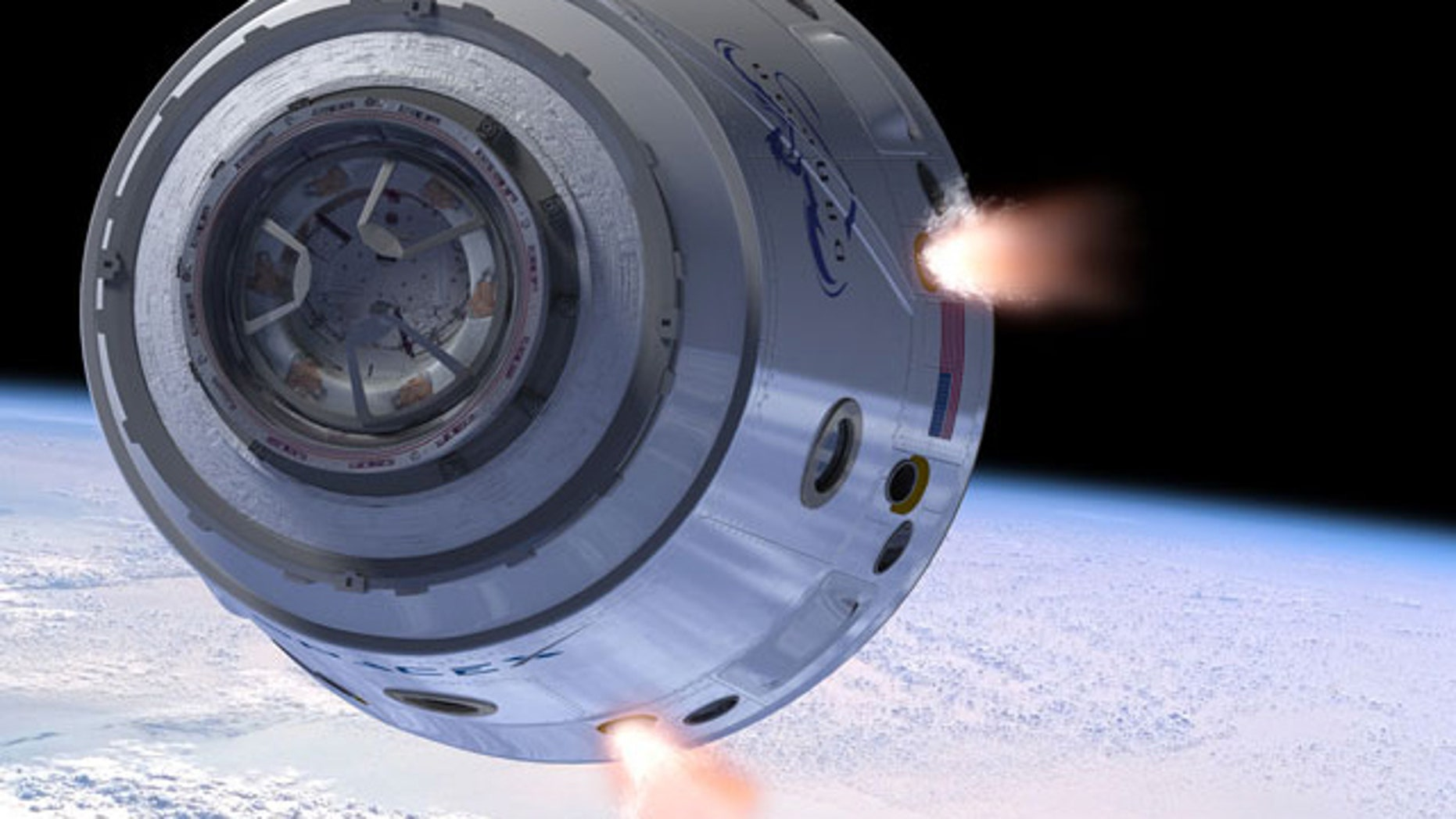 An artist's illustration of SpaceX's Dragon space capsule in Earth orbit.
