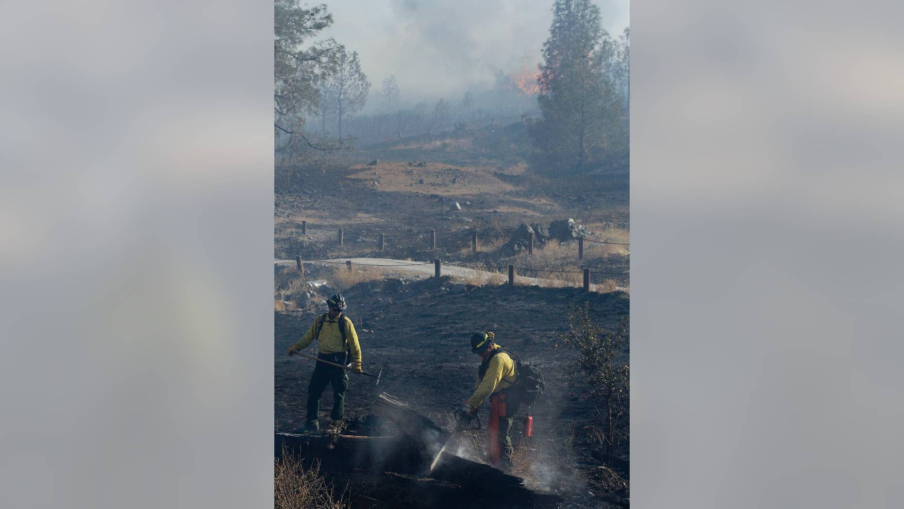 A fire crew cleans up a hot spot near Lower Lake, Calif., Thursday, Aug. 13, 2015. Crews battling the wind-stoked blaze took advantage of cooler temperatures Thursday to clear brush and expand containment lines with bulldozers and hand tools. (AP Photo/Jeff Chiu)