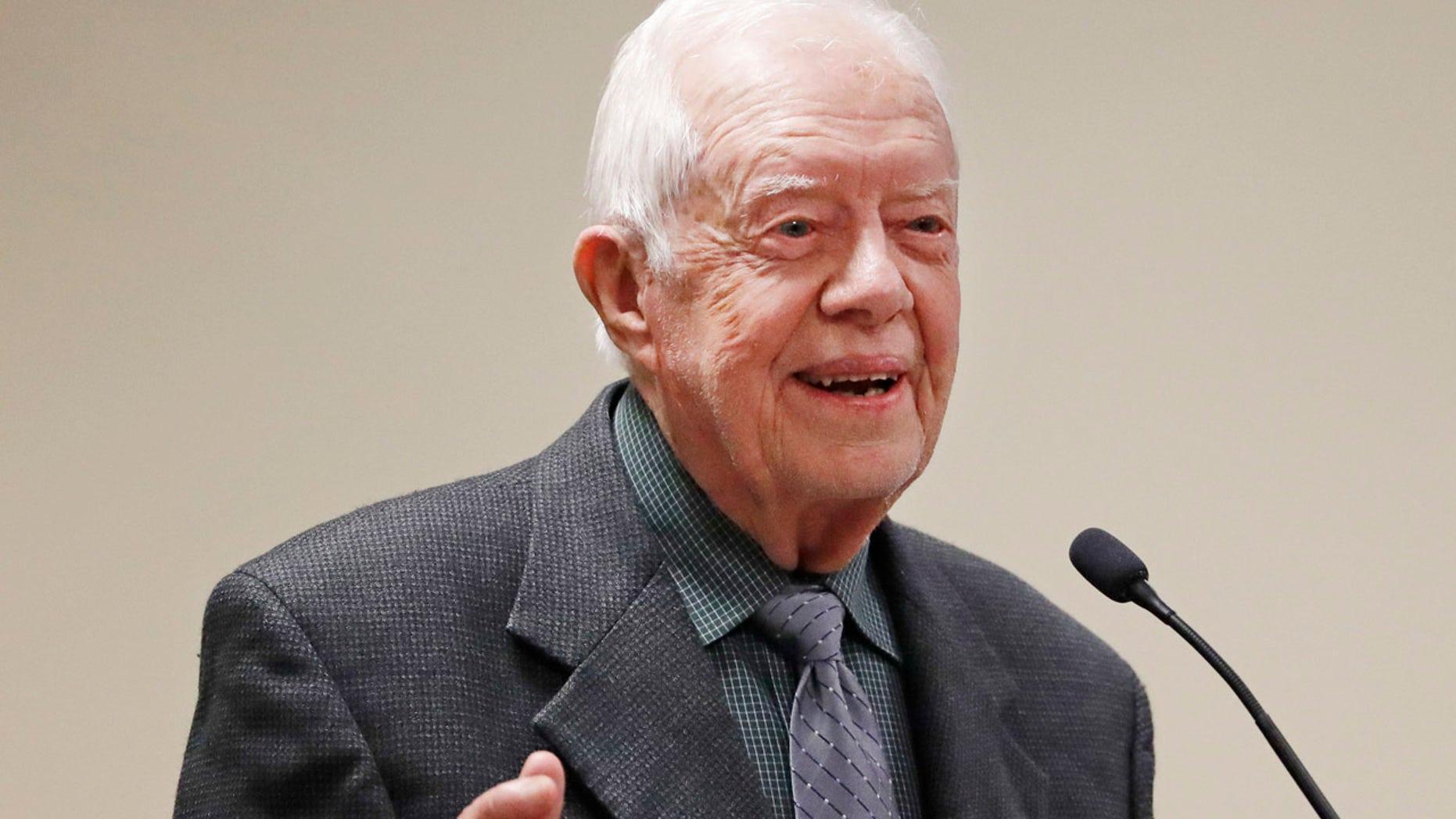 Former President Jimmy Carter speaks at a Baptist conference in Atlanta, Sept. 12, 2017.