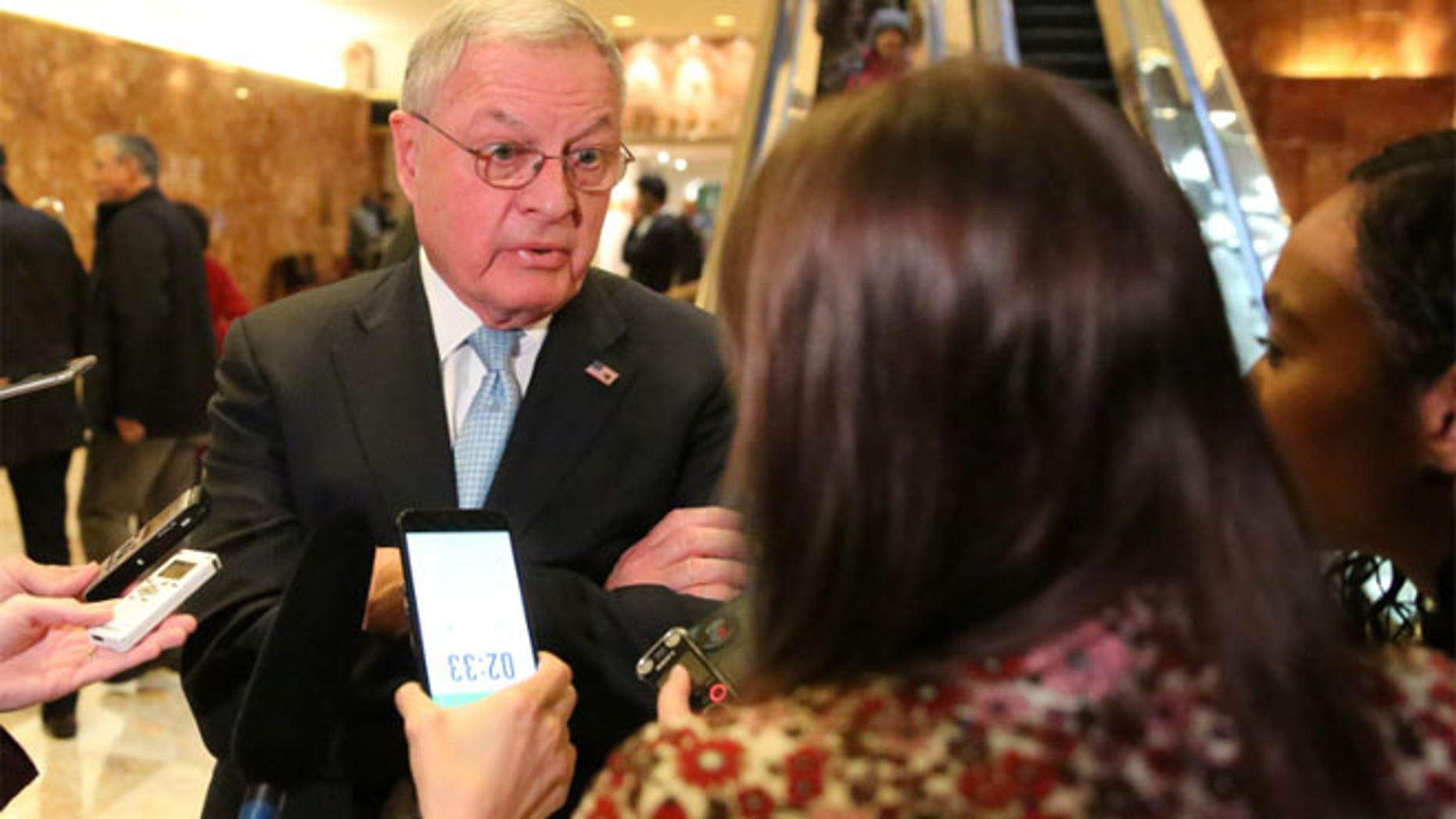FILE: Retired Lieutenant General Keith Kellogg speaks to the media in the lobby of Donald Trump's Trump Tower in New York