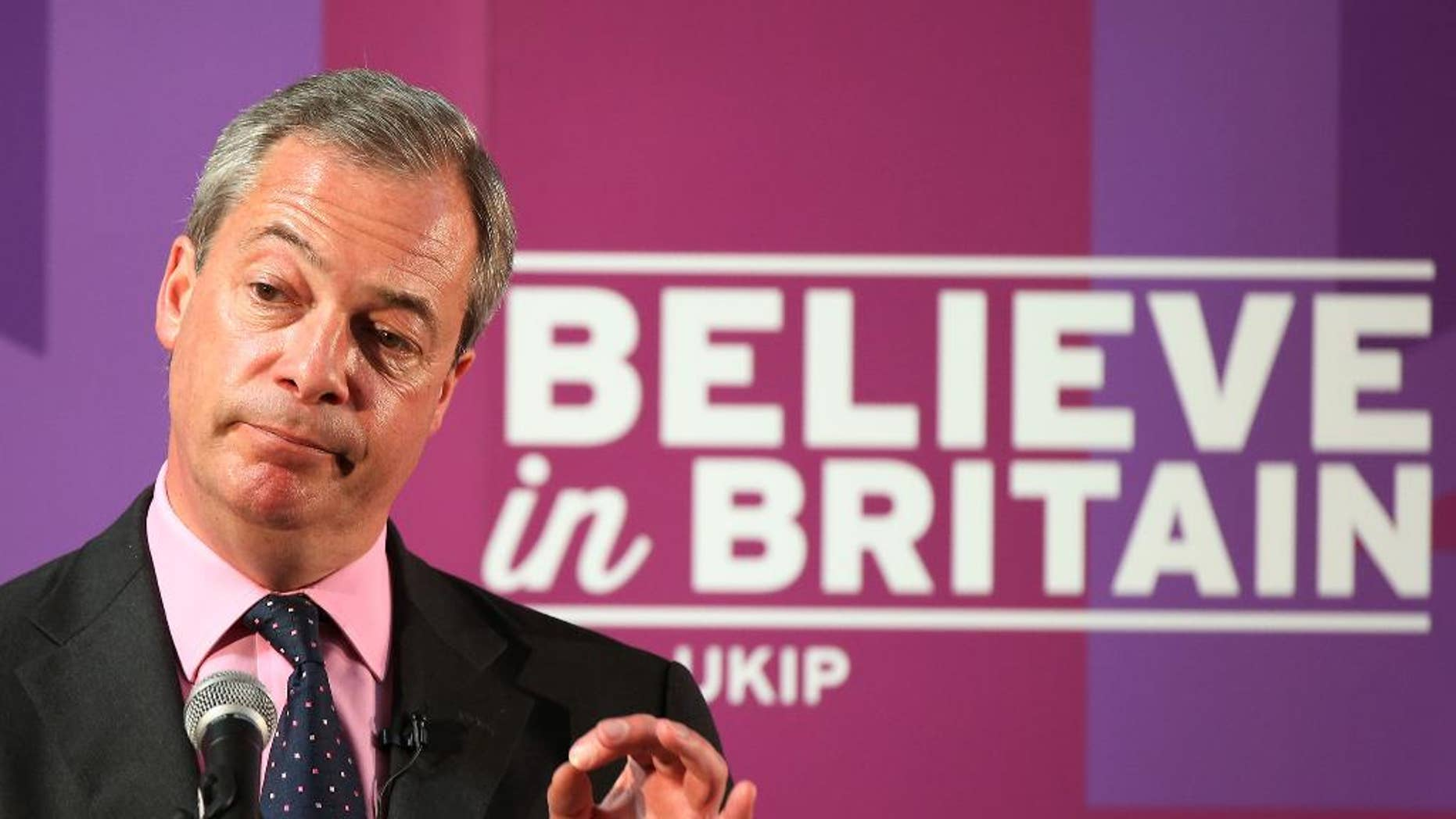 FILE - In this Tuesday, April 28, 2015 file photo, Nigel Farage leader of Britain's United Kingdom Independence Party delivers a speech in Hartlepool, England. The UK Independence Party says the resignation of Nigel Farage as party leader has been rejected and he remains in the post. The announcement Monday, May 11, 2015 came three days after Farage said he was stepping down following his failure to win a seat in Parliament.  (AP Photo/Scott Heppell, File)