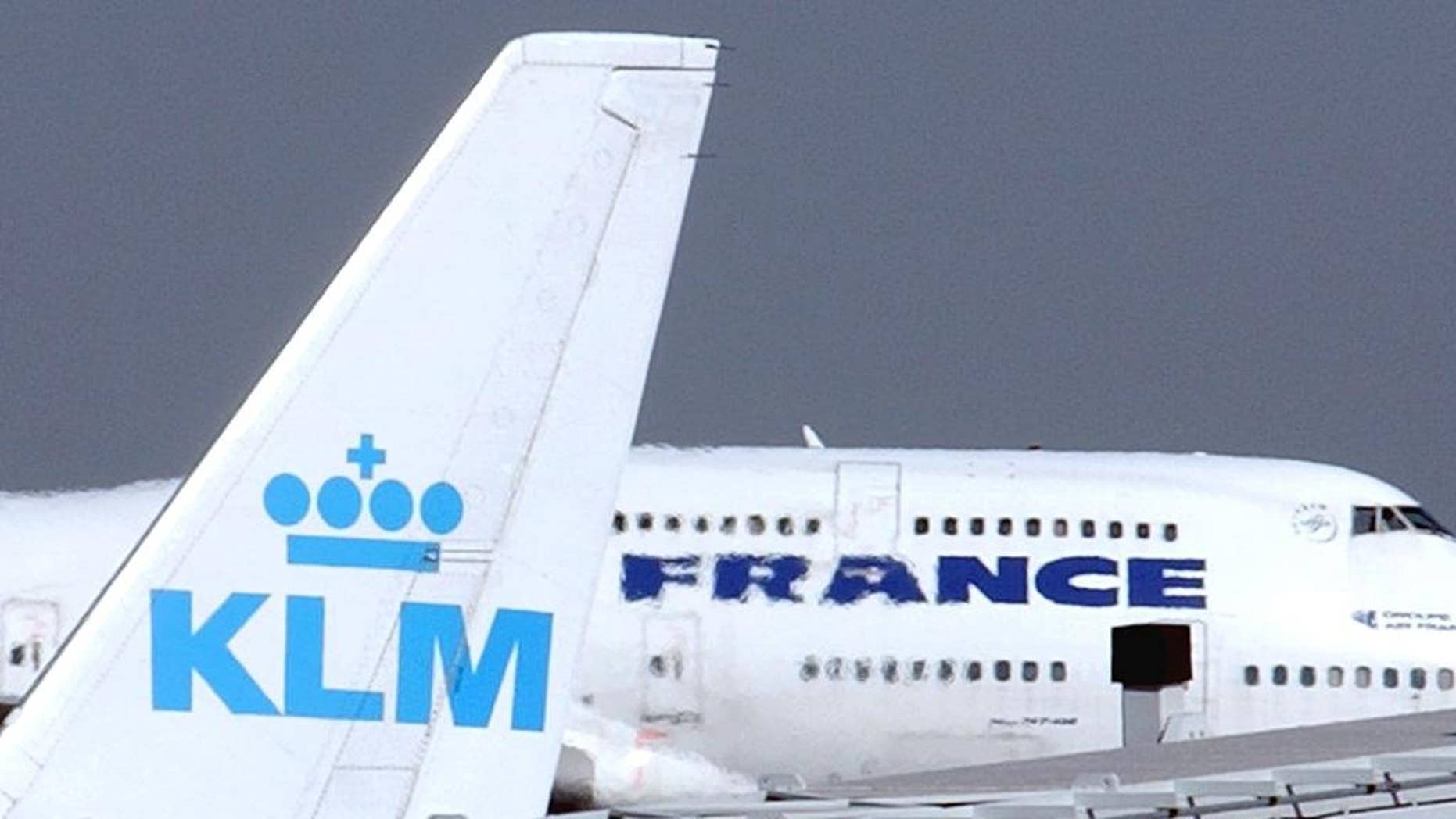 """FILE -- In this Sept. 30, 2003 file photo, an Air France jumbo jet rolls behind the tail of a KLM Royal Dutch airliner at Charles de Gaulle airport in Roissy, north of Paris. KLM said Wednesday, Sept. 14, 2016 that it will temporarily suspend flights to and from Cairo in January, citing """"economic reasons."""" The Royal Dutch Airlines' statement said the devaluation of the Egyptian pound and restrictions imposed by the country's central bank on the transfer of foreign currency out of Egypt are behind the decision. (AP Photo/Remy de la Mauviniere, File)"""