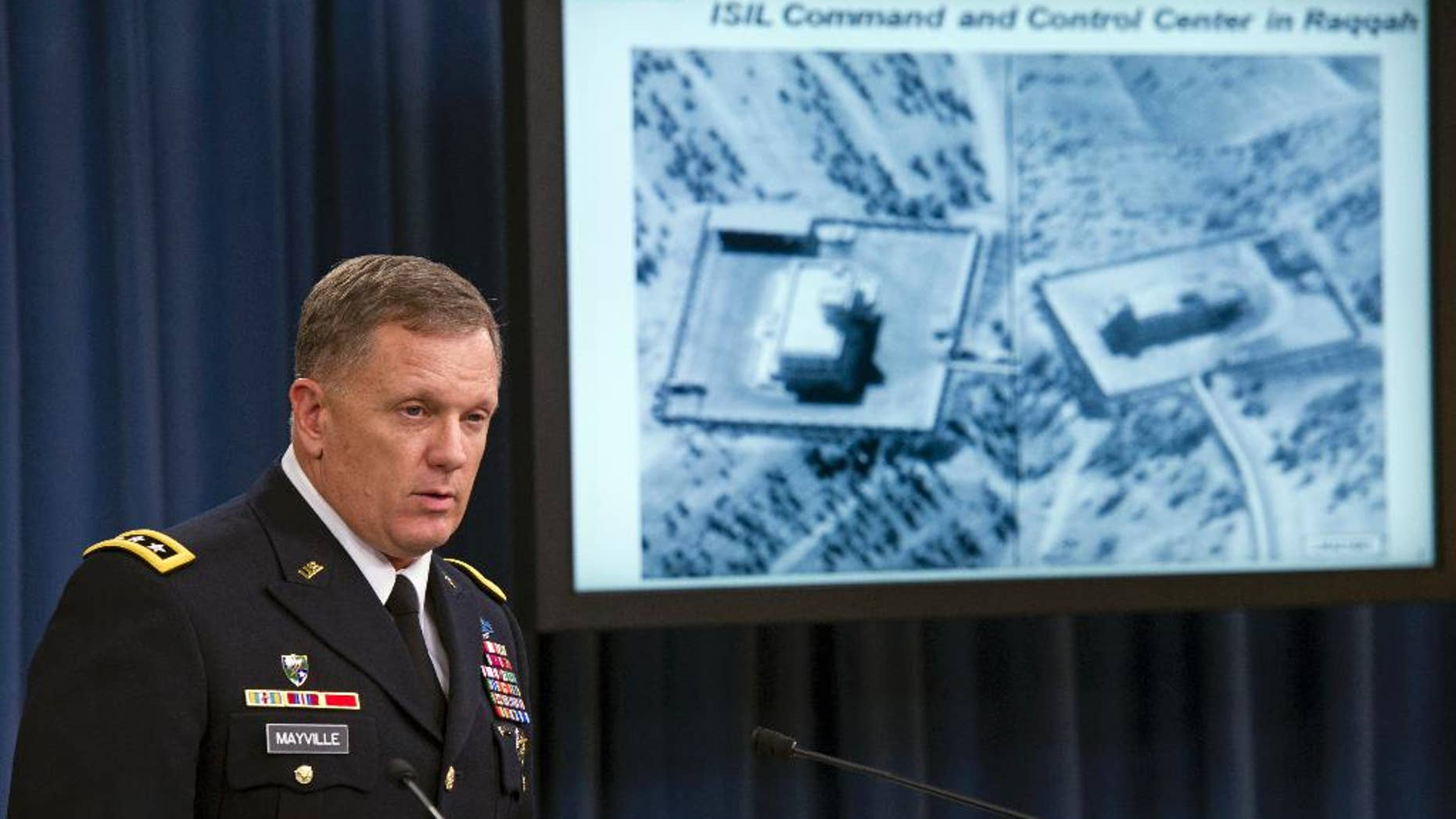 FILE - In this Sept. 23, 2014, file photo, Army Lt. Gen. William Mayville, Jr., Director of Operations J-3, speaks about the operations in Syria, during a news conference at the Pentagon. The U.S. military has hit as many as 17 separate targets connected to an al-Qaida cell in Syria known as the Khorasan Group, U.S. officials say. It's part of an ongoing and little-discussed air campaign aimed at disrupting the group's capacity to plot attacks against Western aviation.  (AP Photo/Cliff Owen, File)
